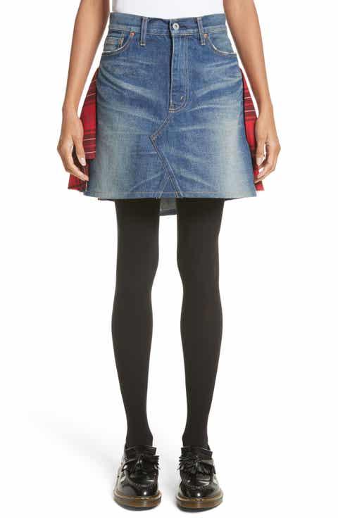 Junya Watanabe Tartan Back Denim Miniskirt