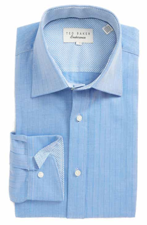 305f28a24 Ted Baker London Endurance Trim Fit Herringbone Dress Shirt