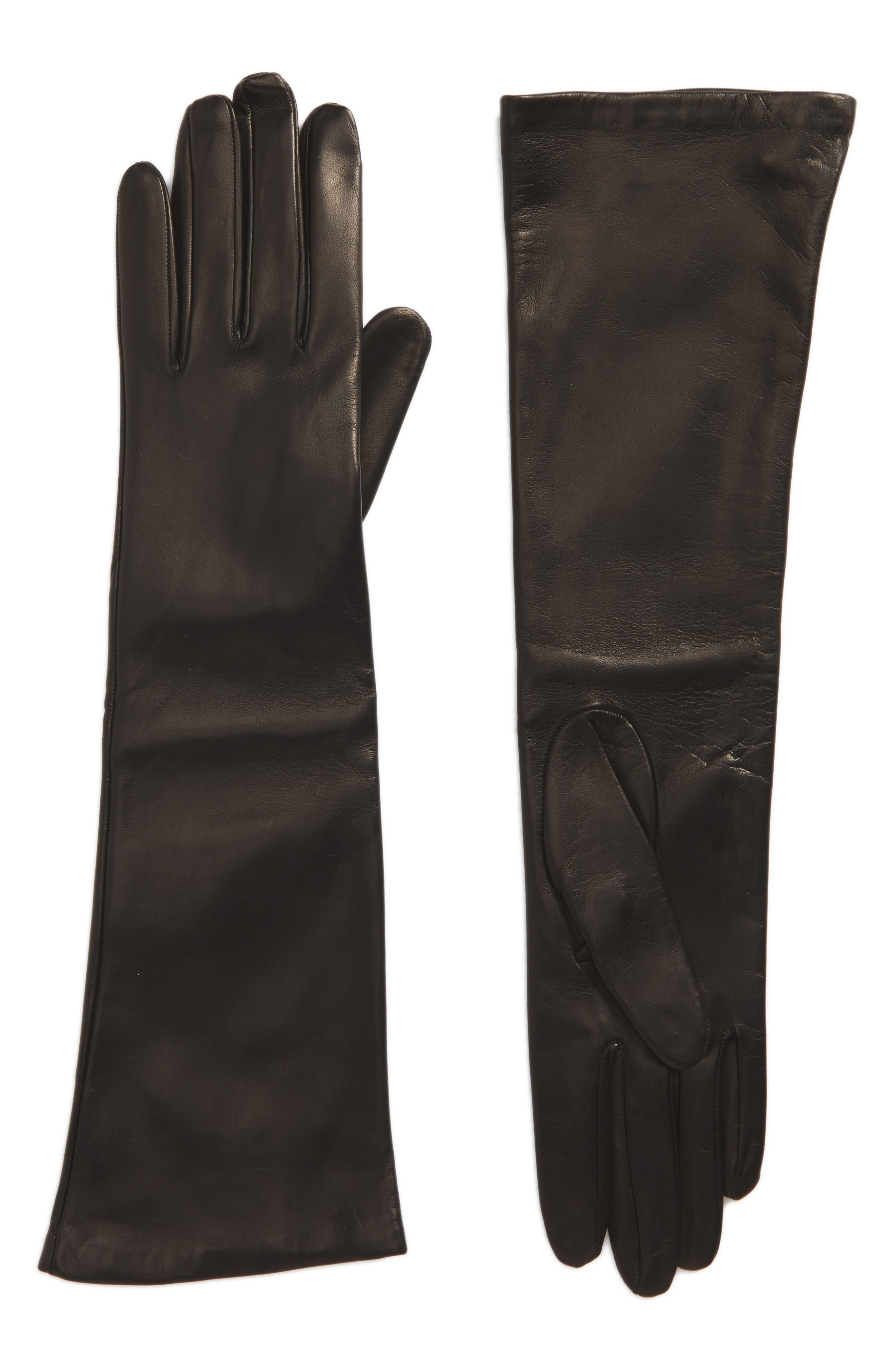 Long Leather Gloves,                             Main thumbnail 1, color,                             Black