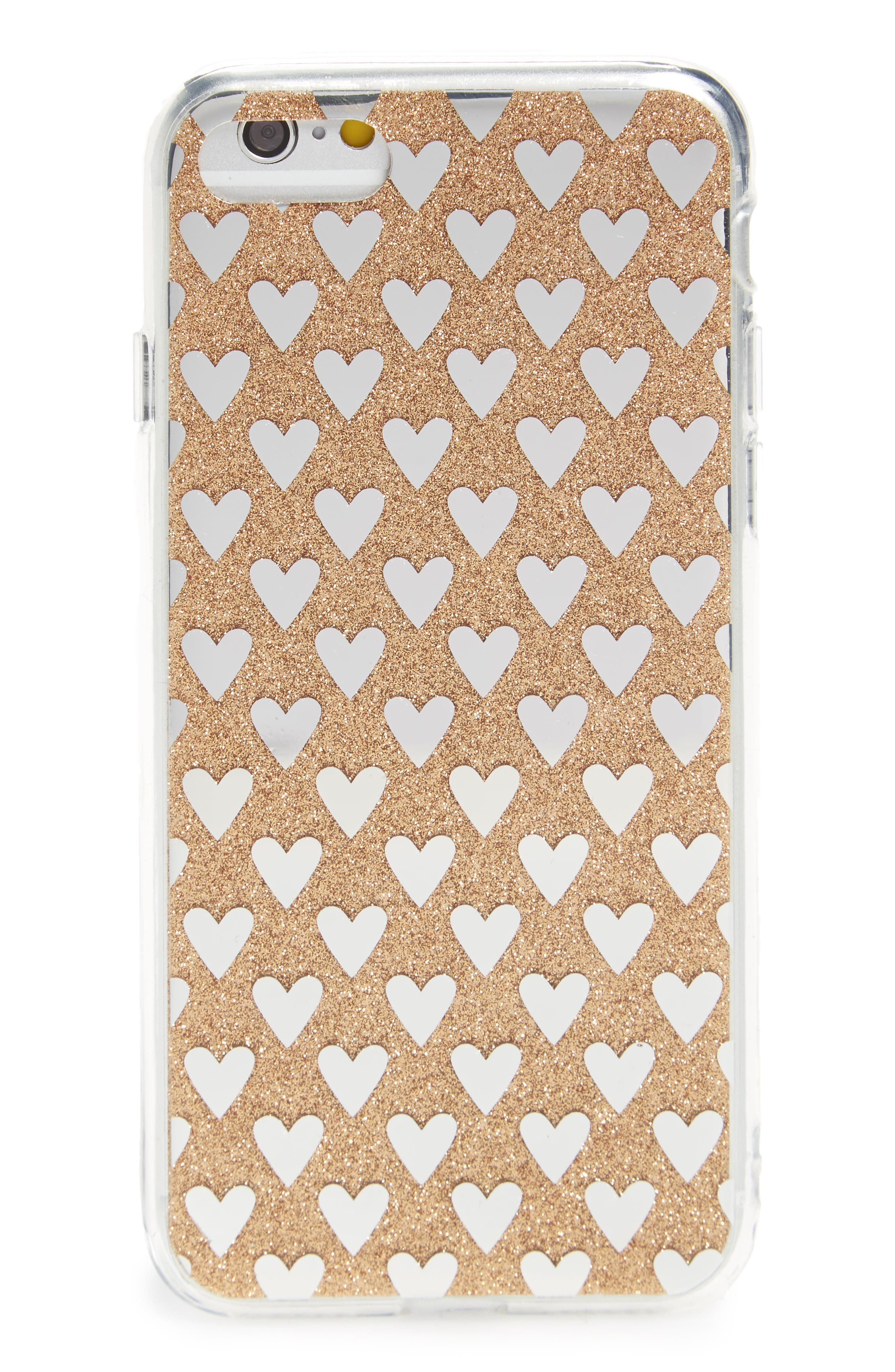 Transparent Glitter Heart iPhone 6/6s/7 Case,                             Main thumbnail 1, color,                             Gold