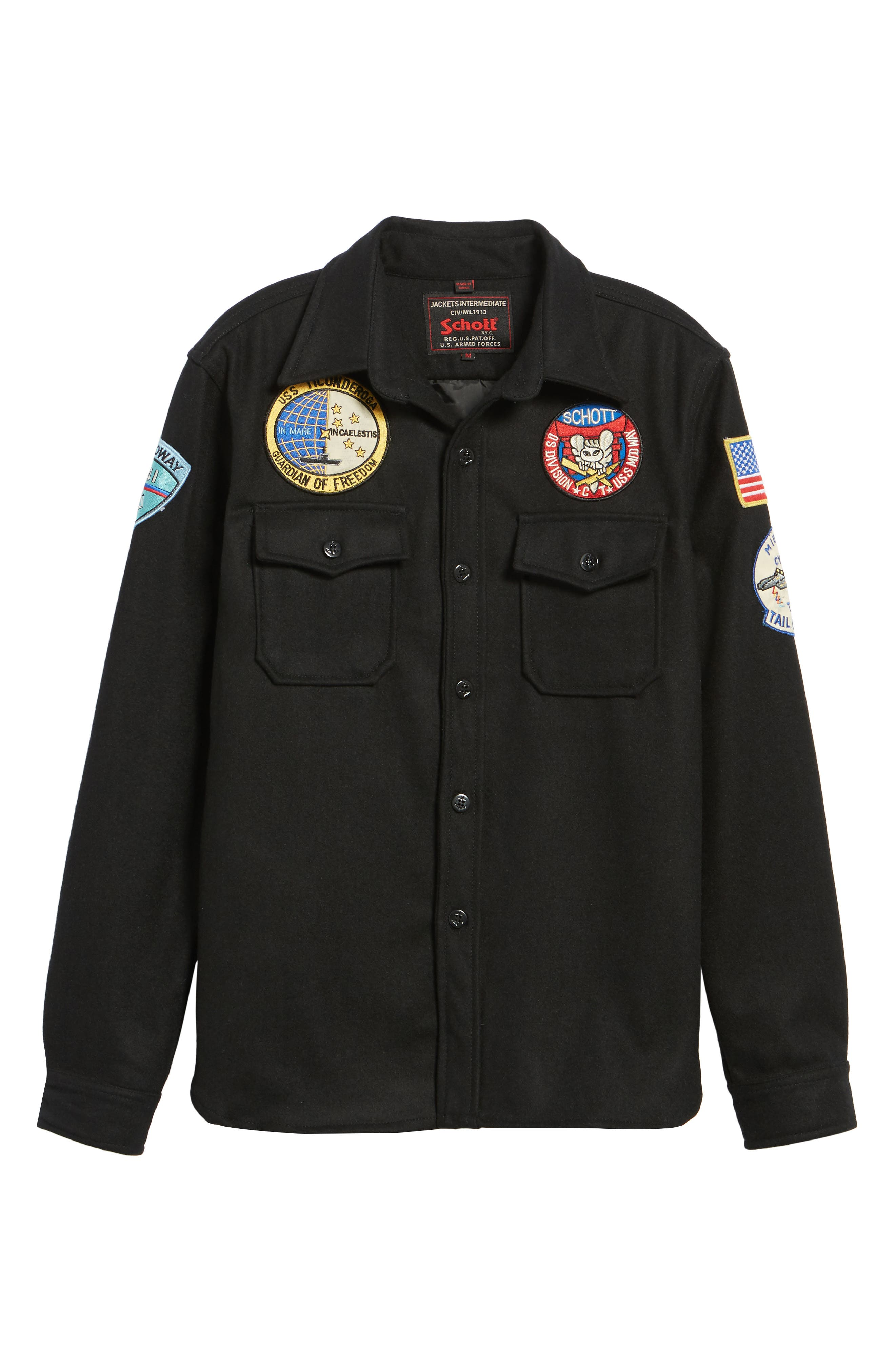 Embroidered Patch Wool Blend Jacket,                             Alternate thumbnail 6, color,                             Black