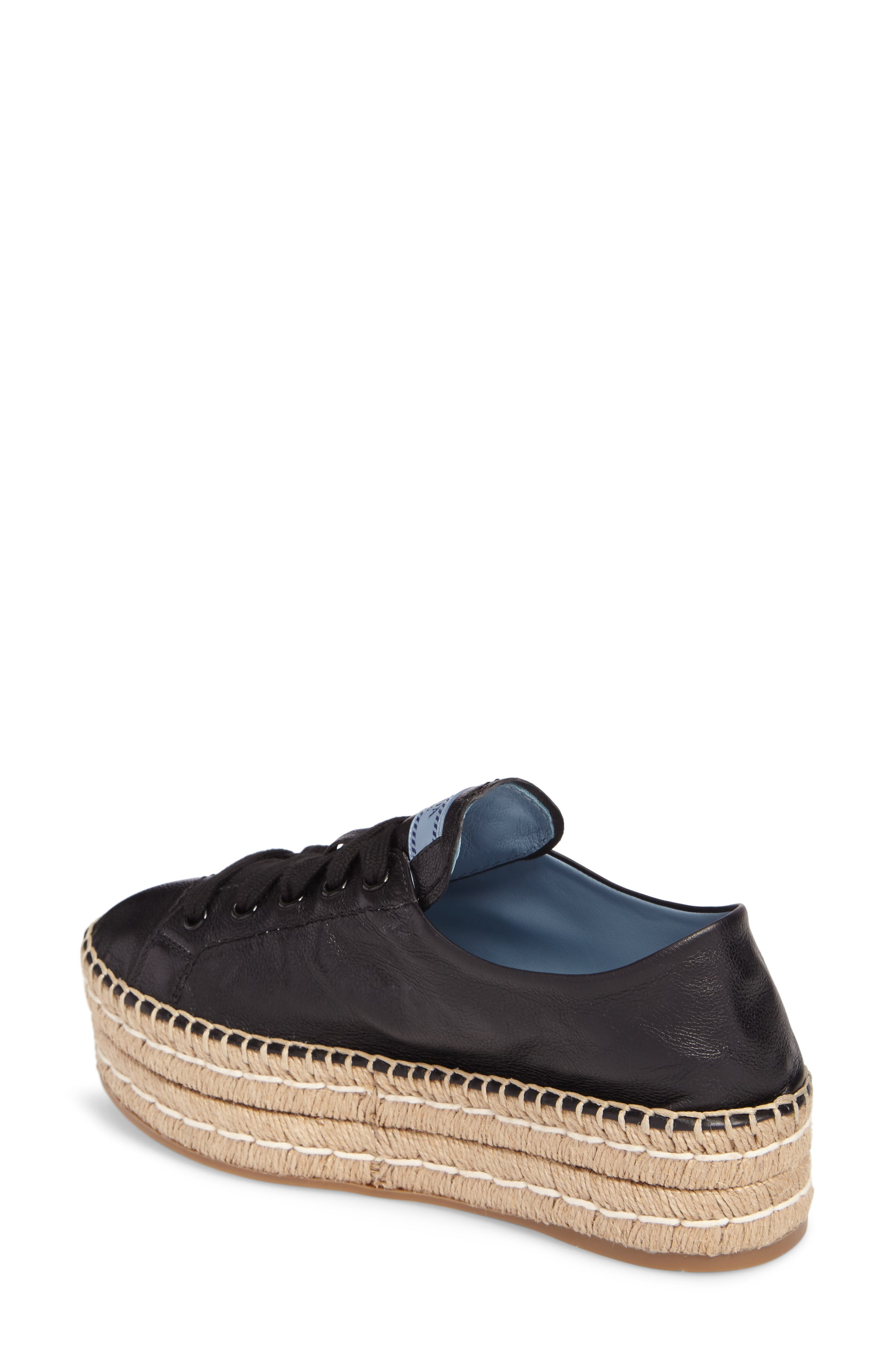 Flatform Espadrille Sneaker,                             Alternate thumbnail 2, color,                             Black