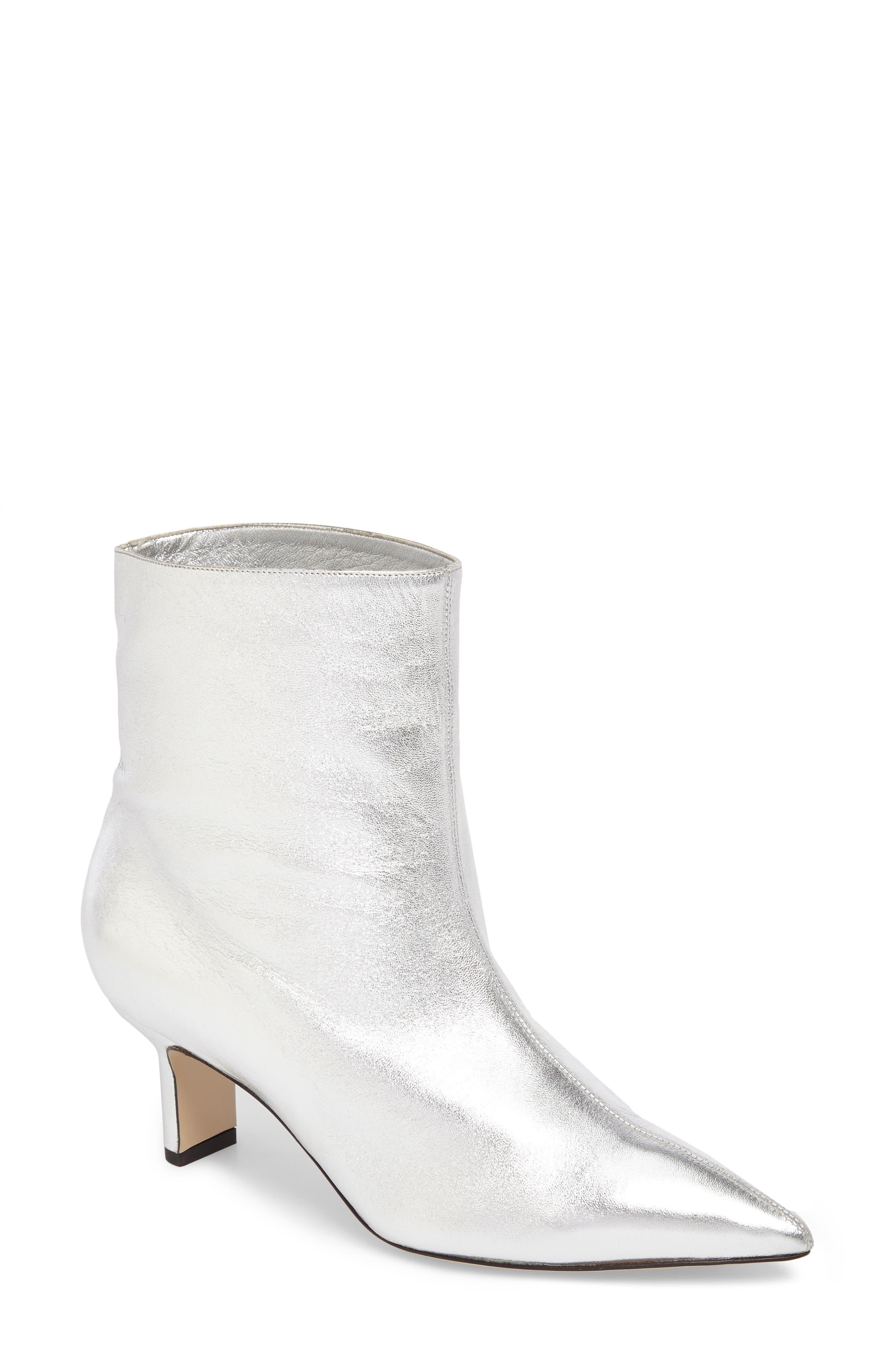 Mangold Pointy Toe Boot,                             Main thumbnail 1, color,                             Silver