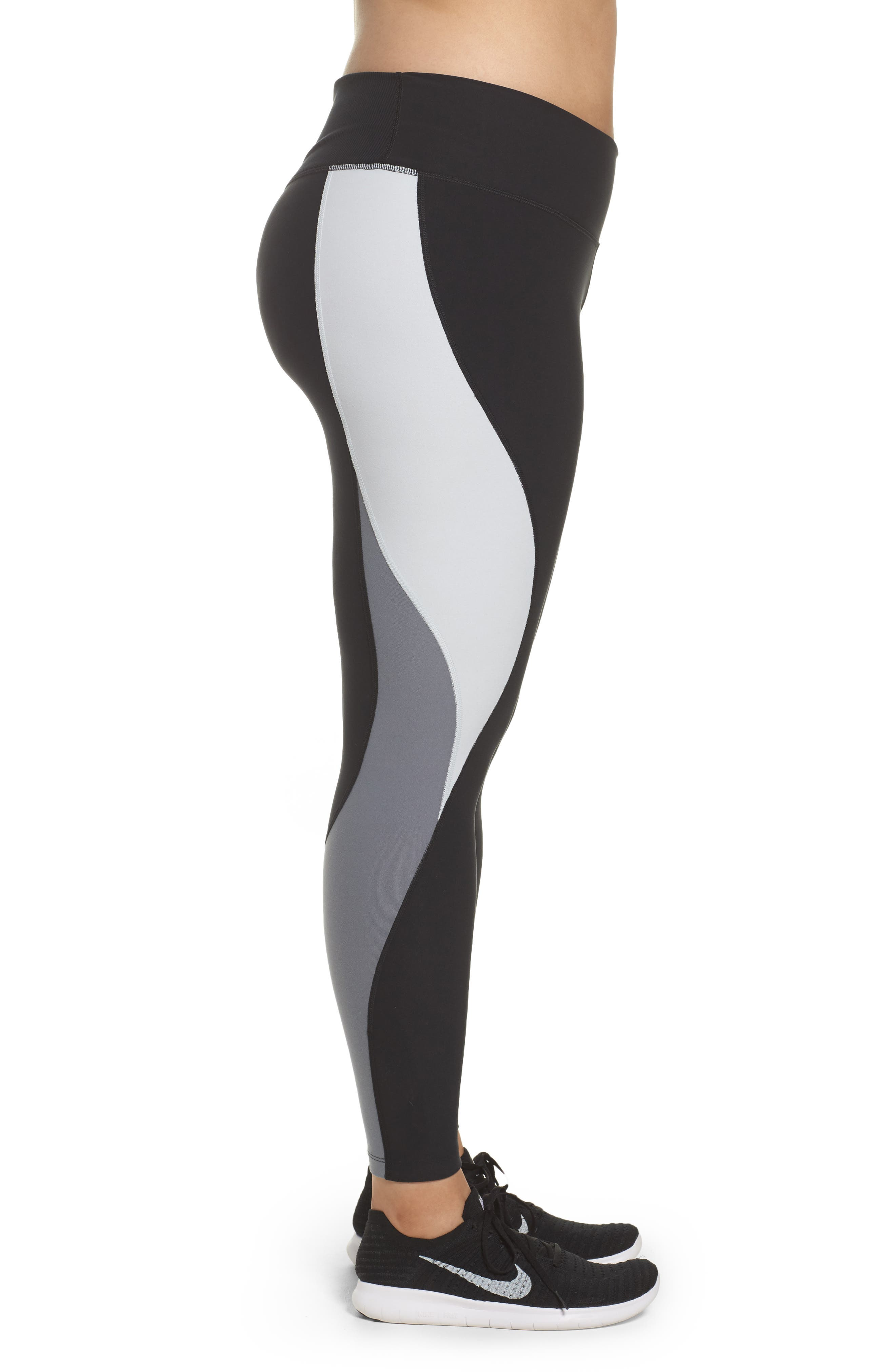 Power Legend Training Tights,                             Alternate thumbnail 3, color,                             Black/ Platinum/ Grey