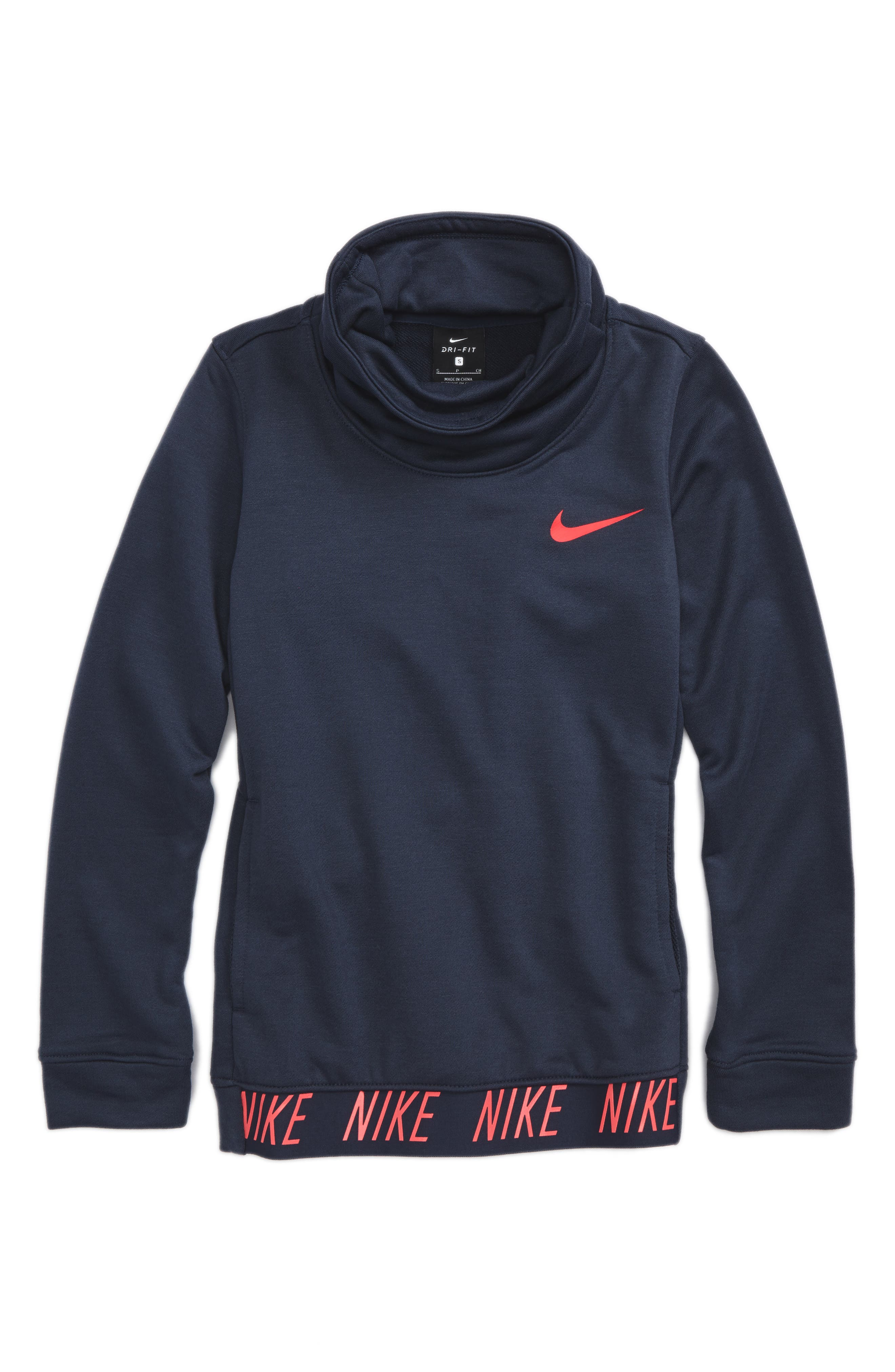 Dry Core Studio Long Sleeve Pullover,                             Main thumbnail 1, color,                             Thunder Blue/ Racer Pink
