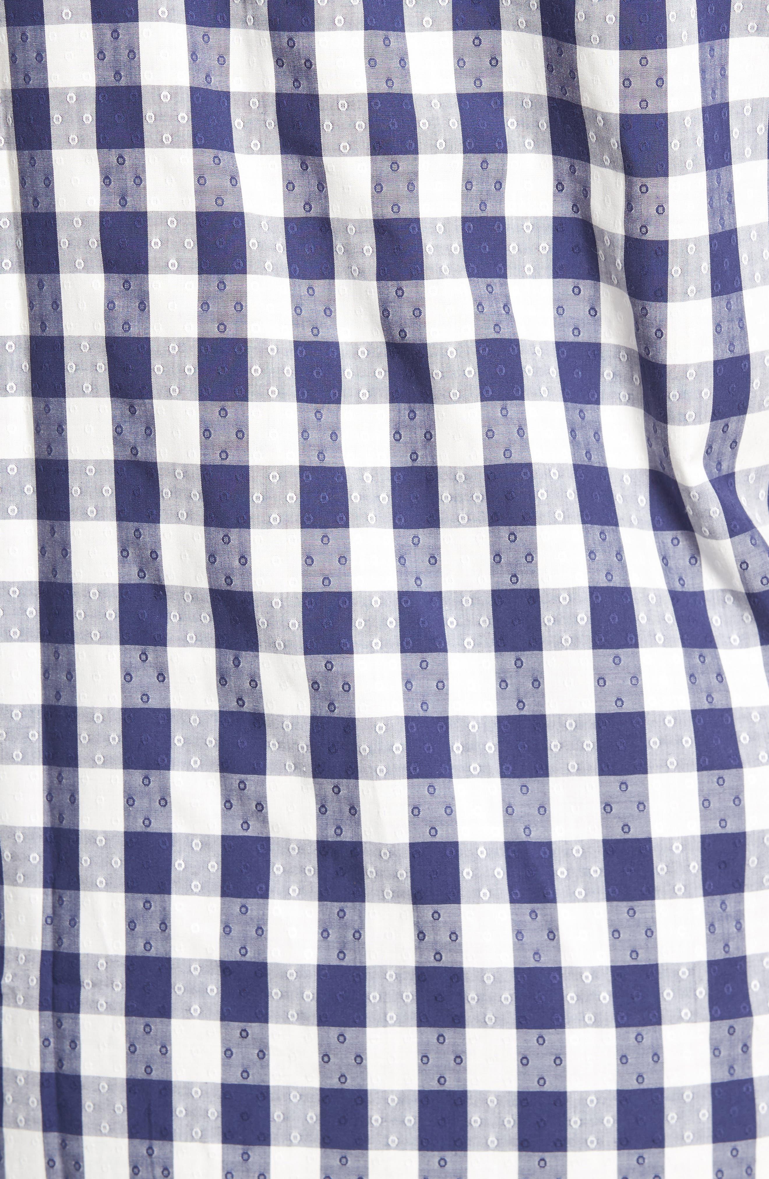 Classic Fit Dobby Gingham Sport Shirt,                             Alternate thumbnail 5, color,                             Navy