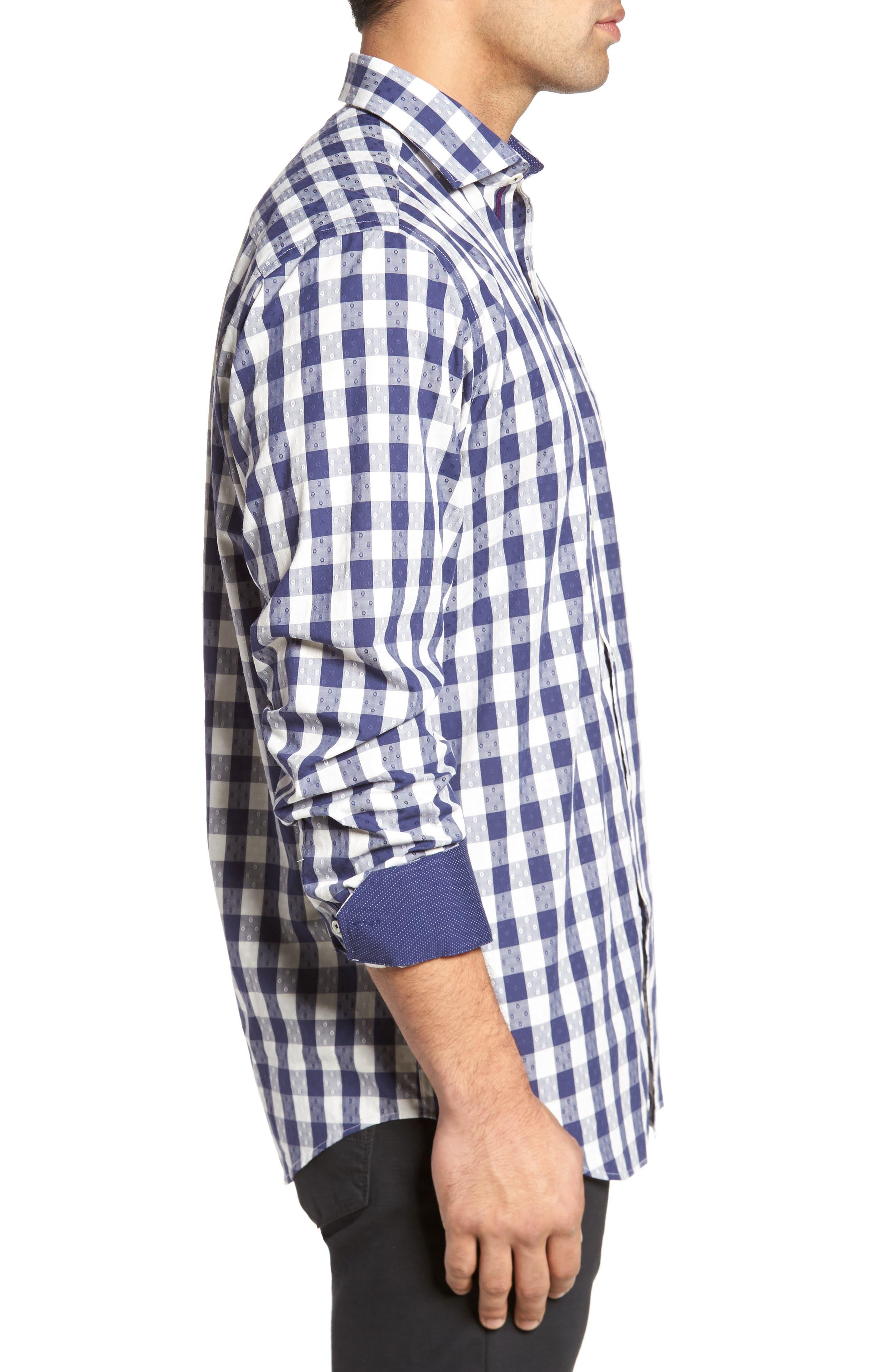 Classic Fit Dobby Gingham Sport Shirt,                             Alternate thumbnail 3, color,                             Navy