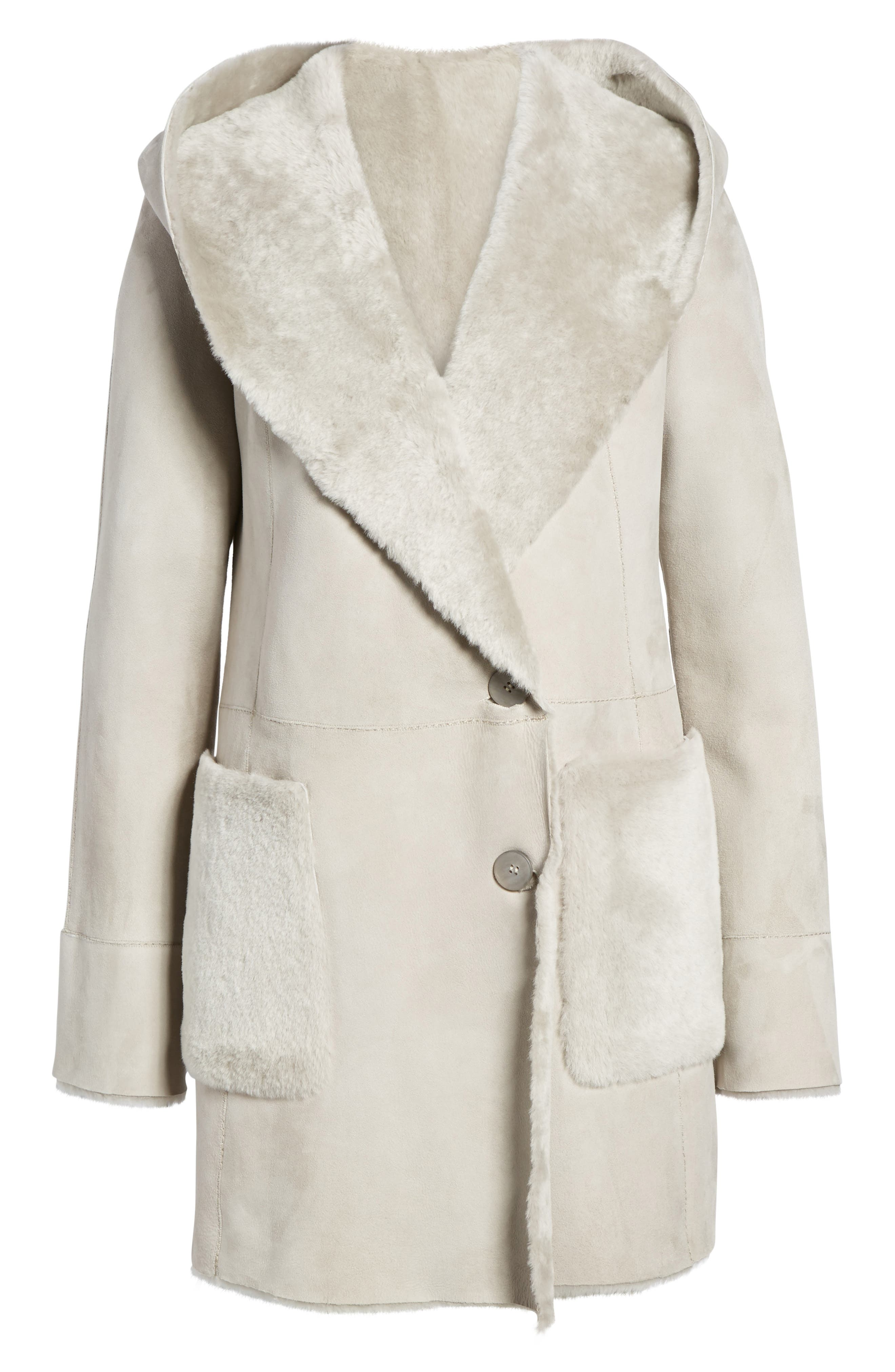 Patch Genuine Shearling Coat,                             Alternate thumbnail 5, color,                             Light Grey