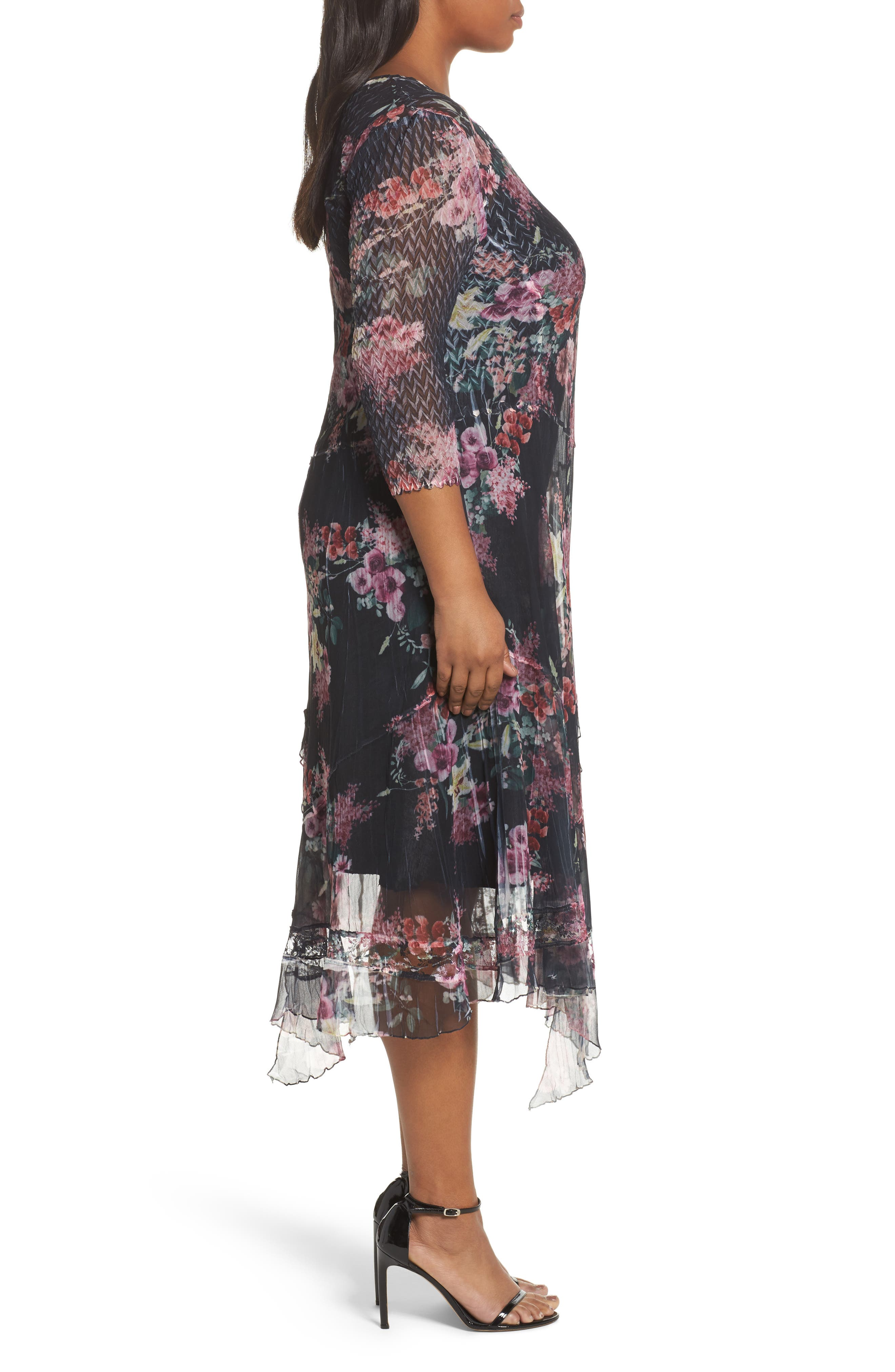 Floral Charmeuse & Chiffon A-Line Dress,                             Alternate thumbnail 3, color,                             Evening Garden
