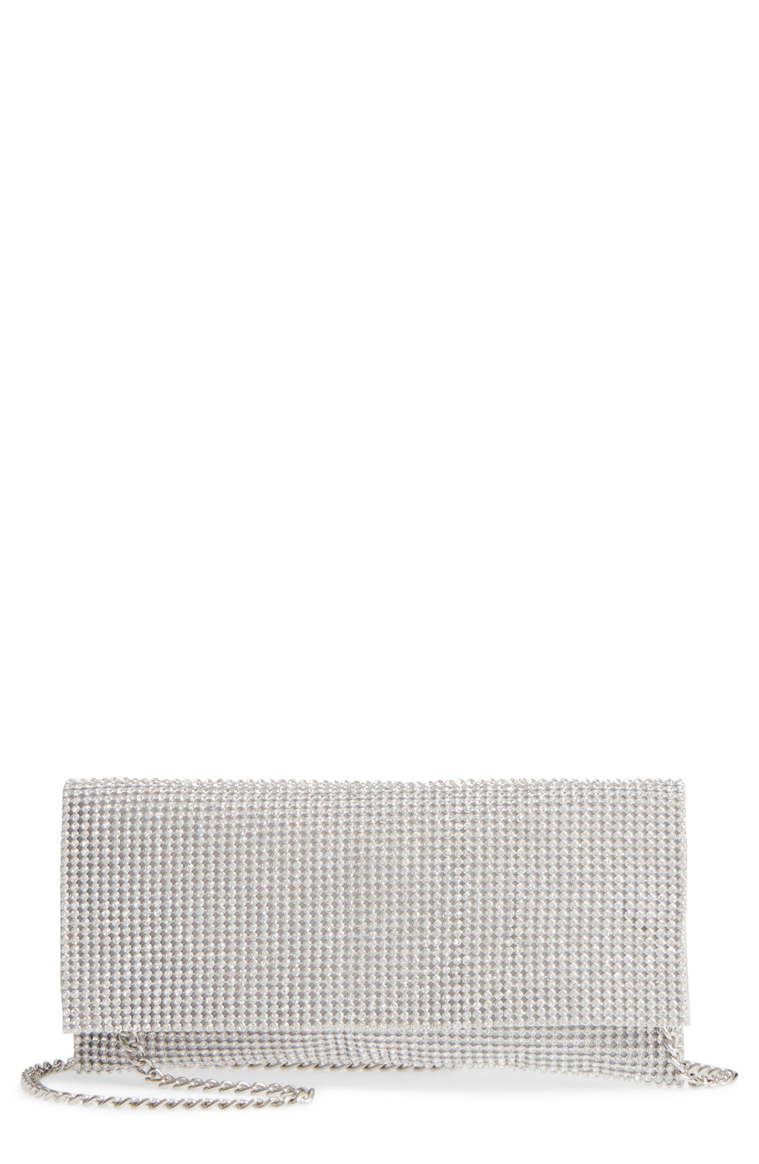 Jazalyn Crystal Mesh Clutch,                         Main,                         color, Silver