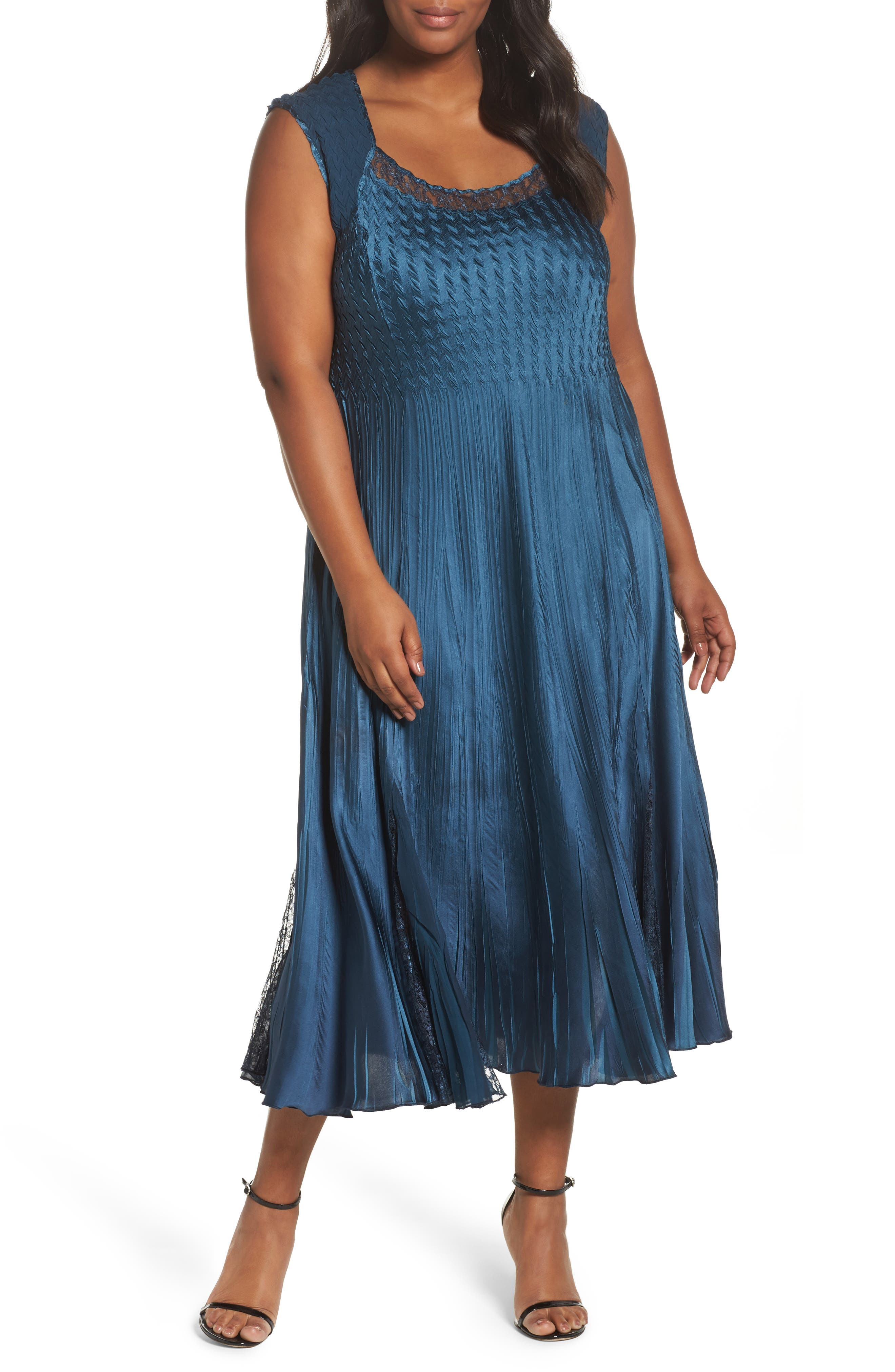 Lace Front Dress with Jacket,                             Alternate thumbnail 3, color,                             Moroccan Blue Ombre