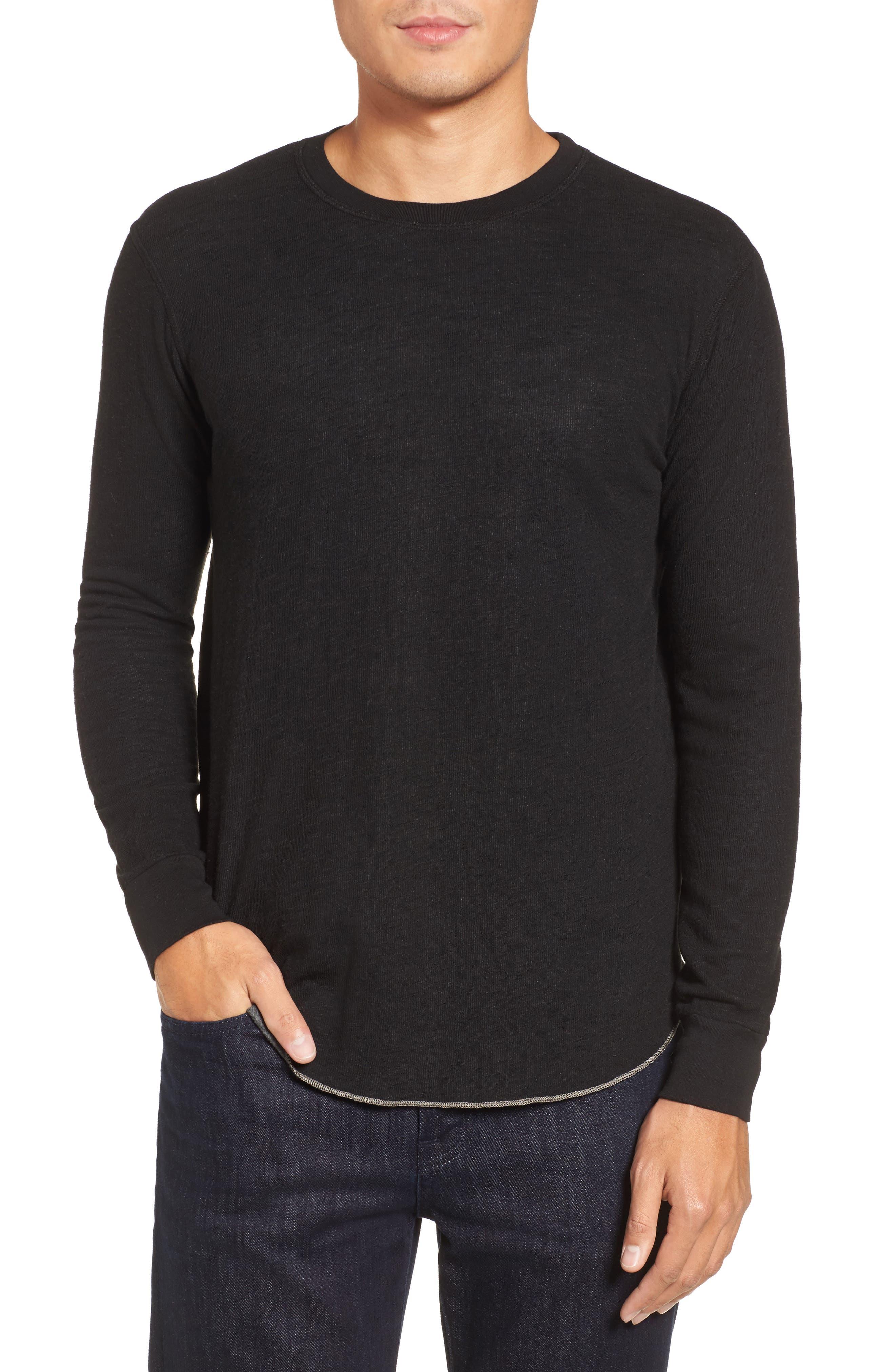 Double Layer Slim Crewneck T-Shirt,                         Main,                         color, Black