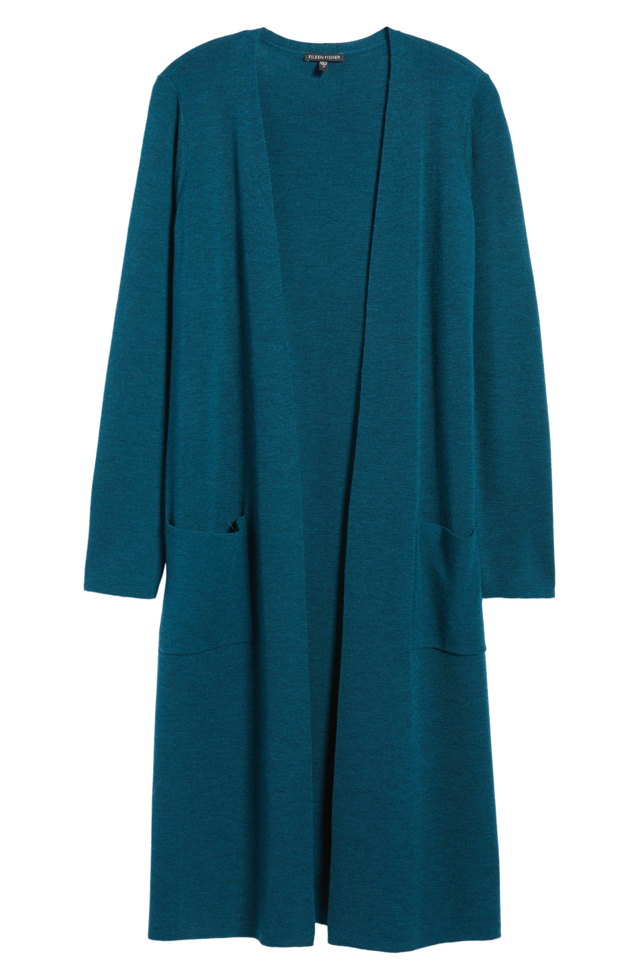 Long Merino Wool Cardigan,                             Alternate thumbnail 6, color,                             Blue Spruce