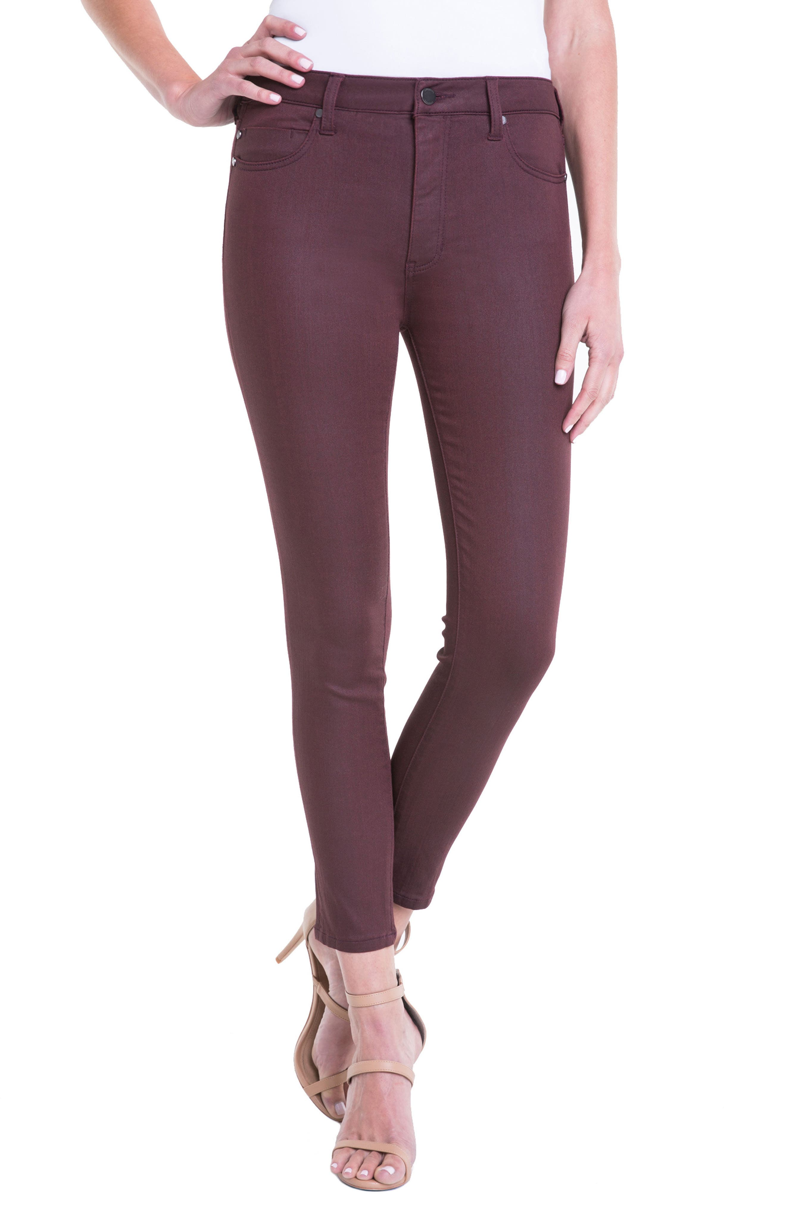 Bridget Coated High Waist Skinny Jeans,                             Main thumbnail 1, color,                             Malbec