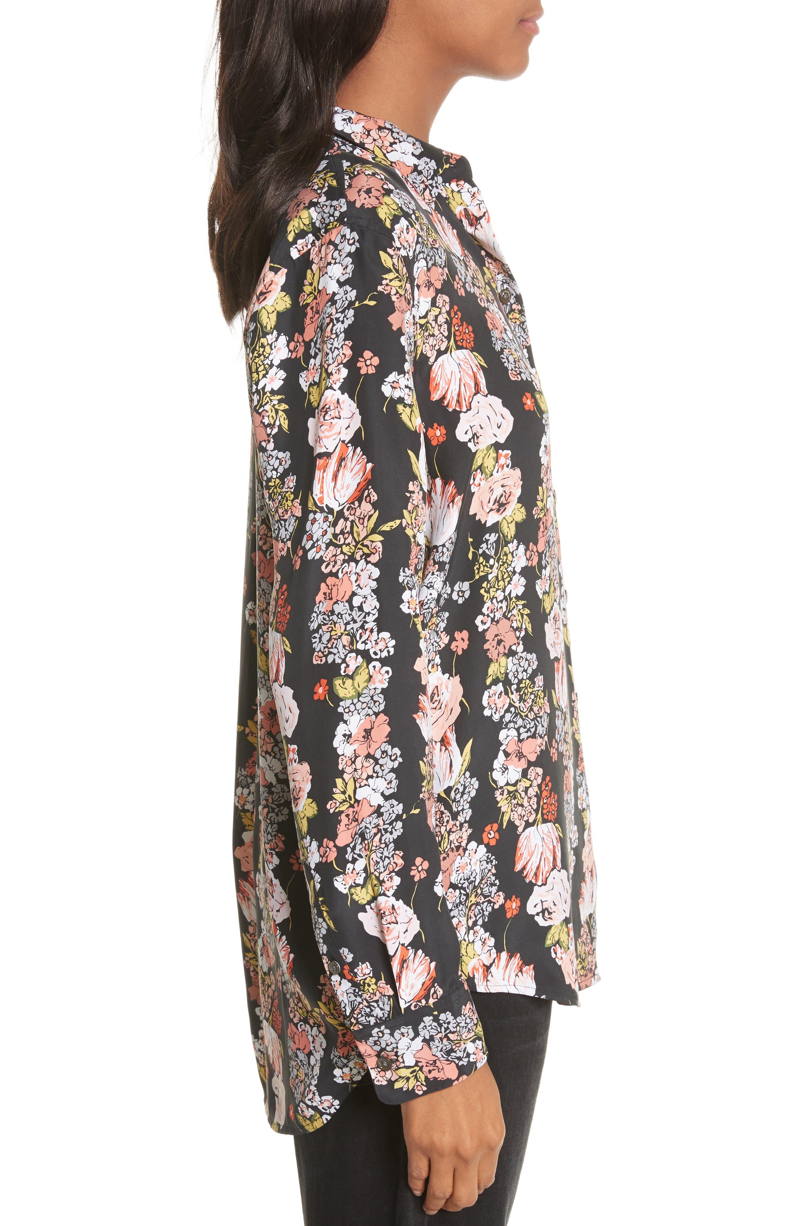 Essential Floral Silk Shirt,                             Alternate thumbnail 3, color,                             True Black Multi