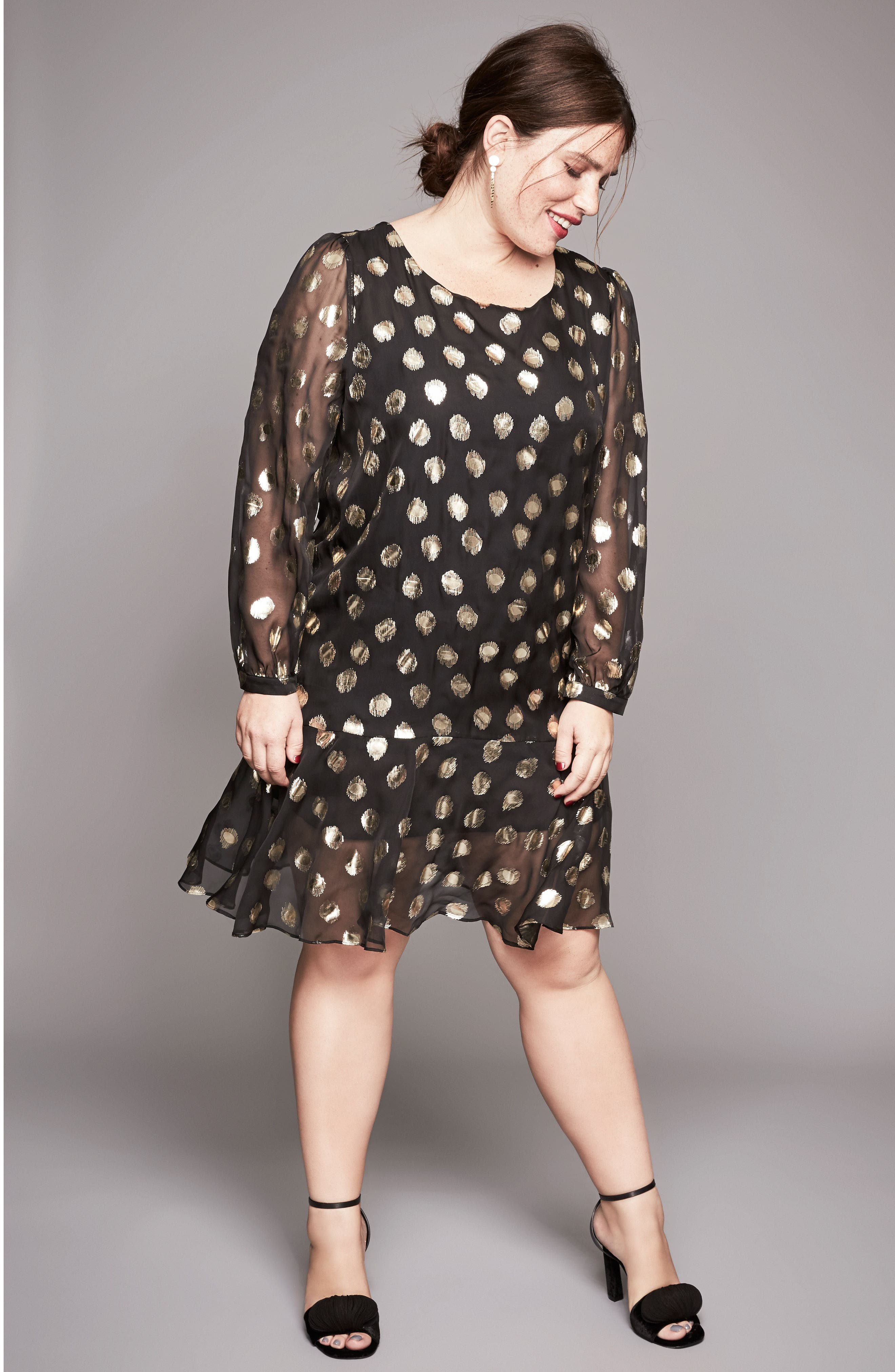 Alternate Image 7  - Glamorous Metallic Dot Drop Waist Dress (Plus Size)