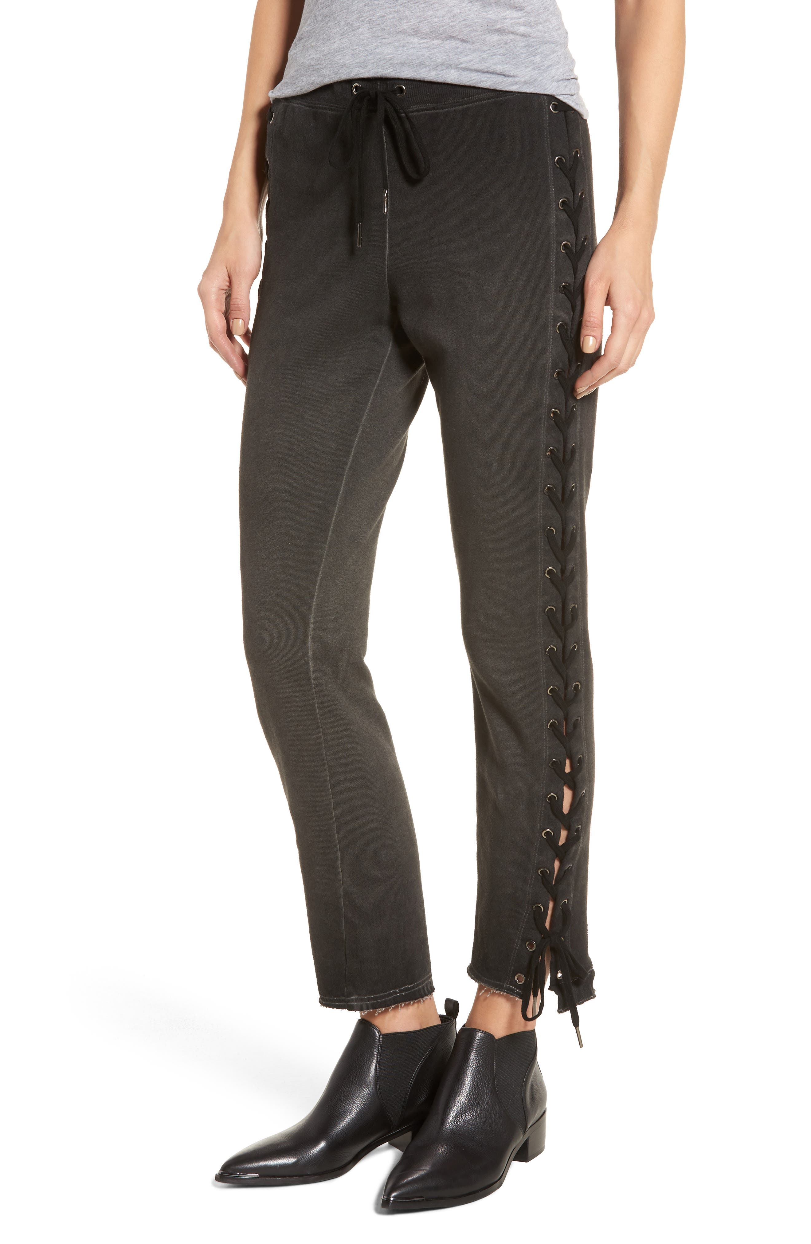 Lace-Up Sweatpants,                             Main thumbnail 1, color,                             Oil Wash Black