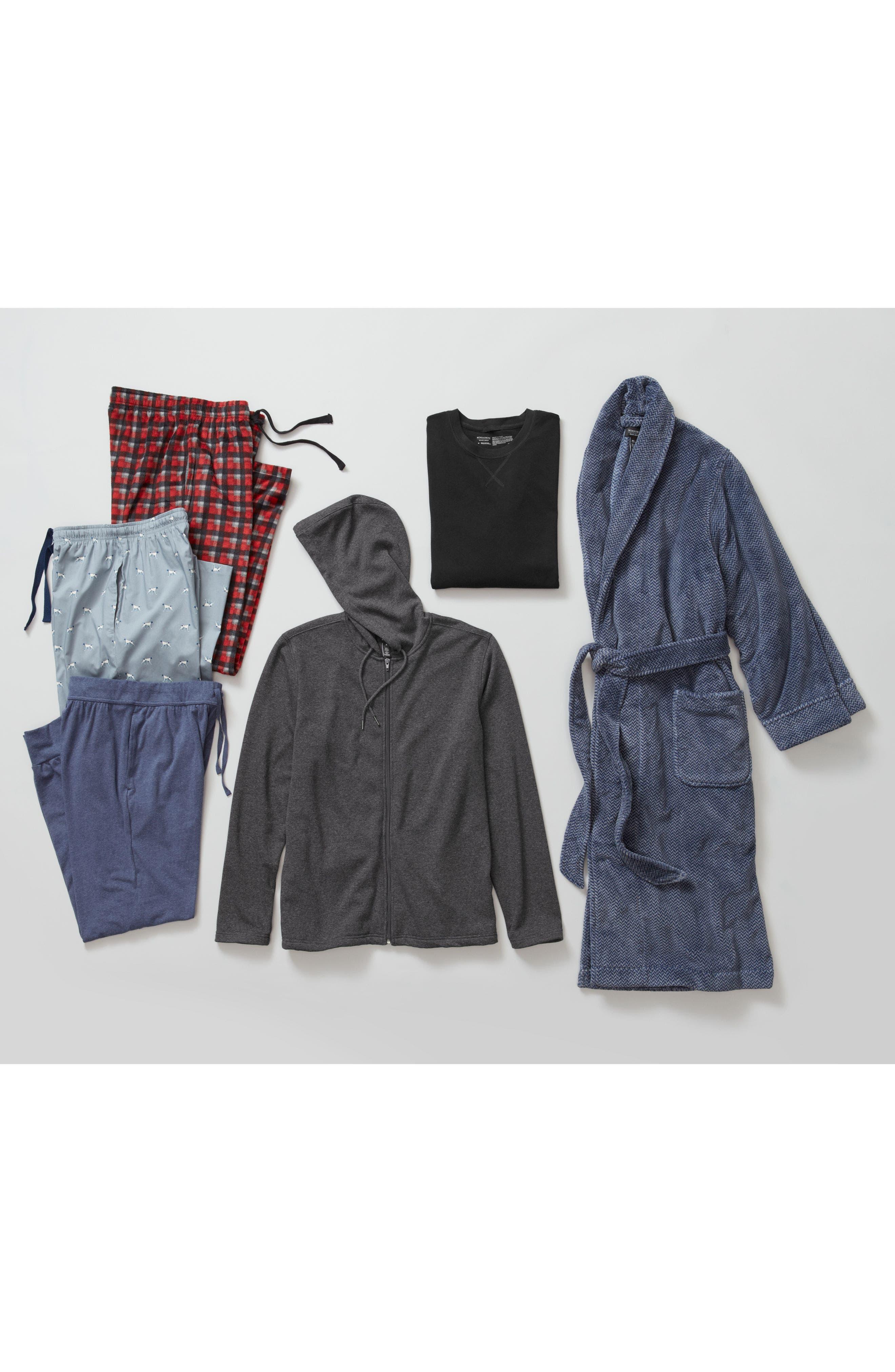 Herringbone Fleece Robe,                             Alternate thumbnail 2, color,