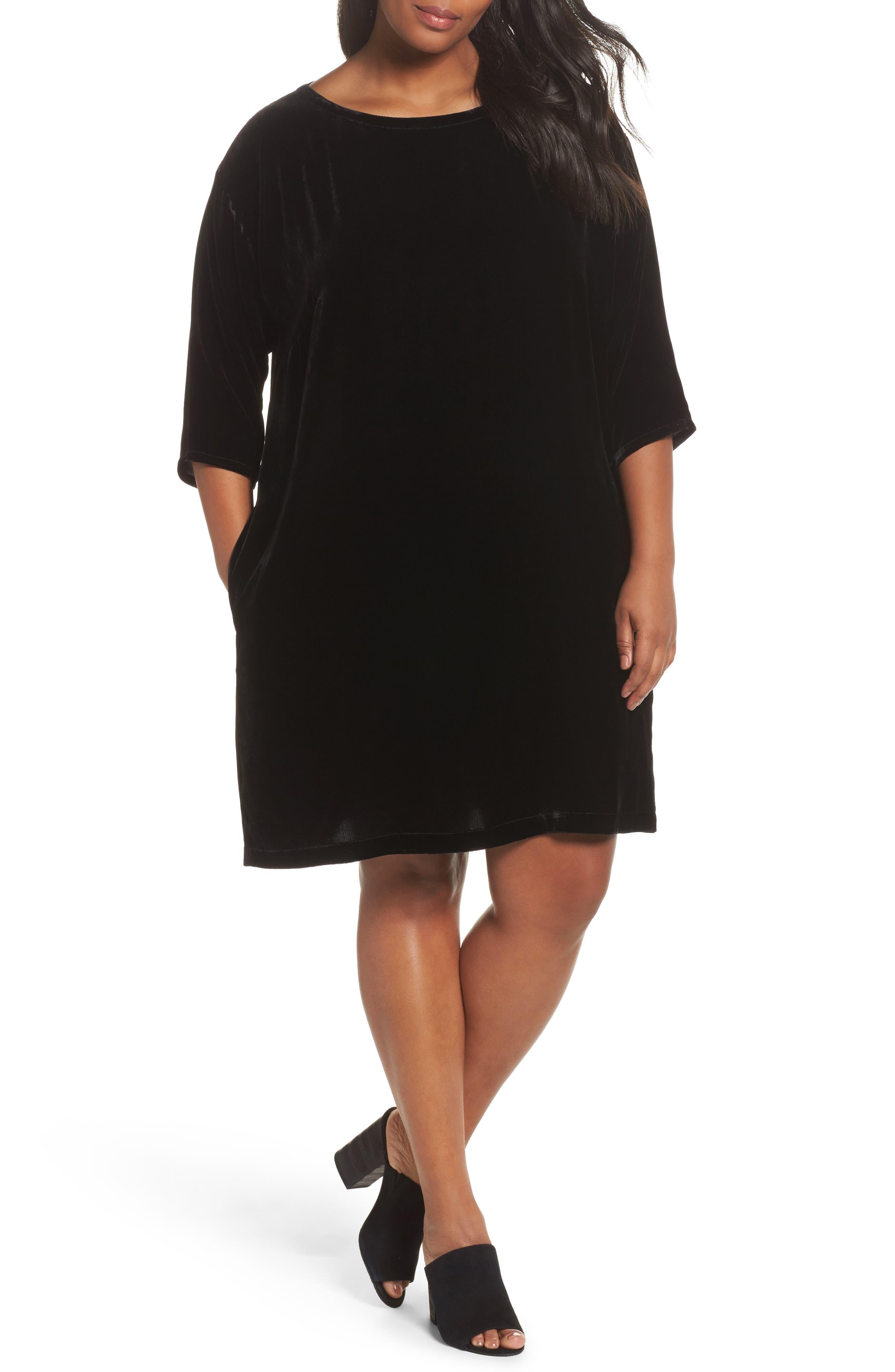 Velvet Shift Dress,                         Main,                         color, Black