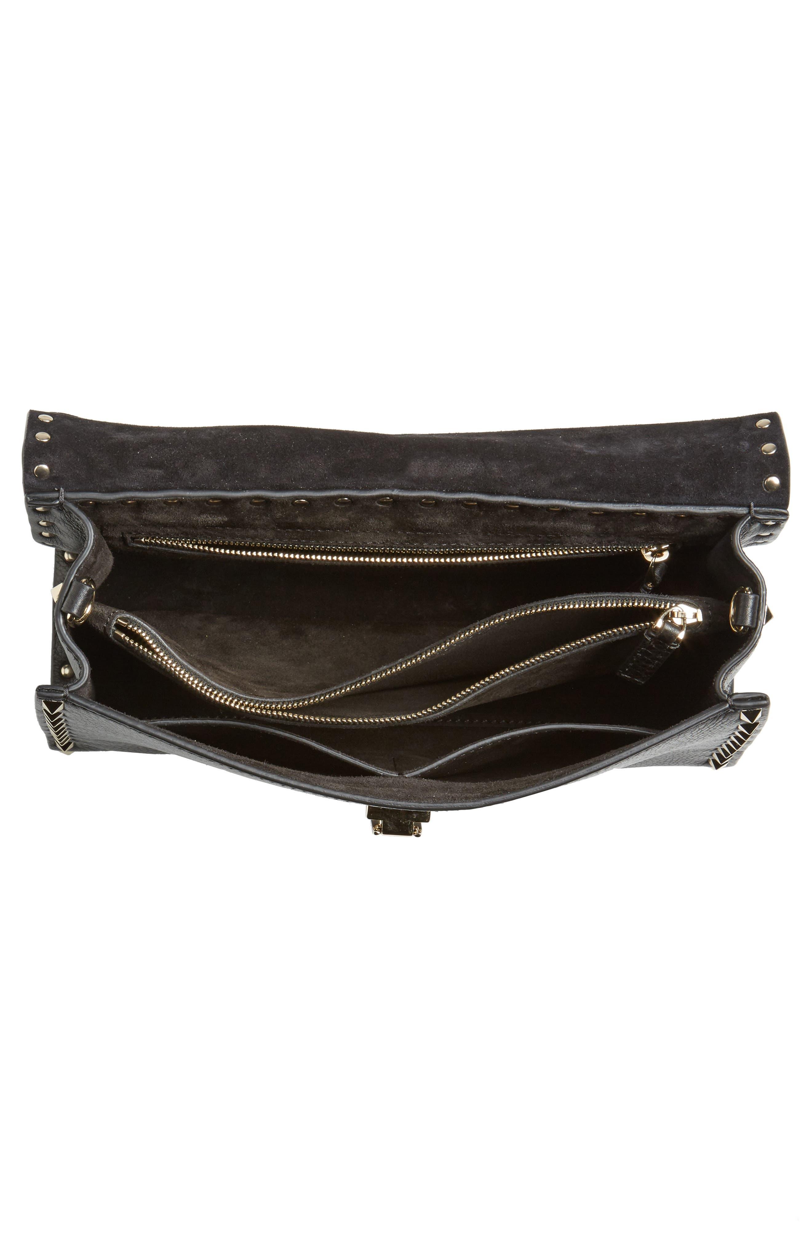 Small Rockstud Leather Single Handle Shoulder Bag,                             Alternate thumbnail 6, color,                             Black