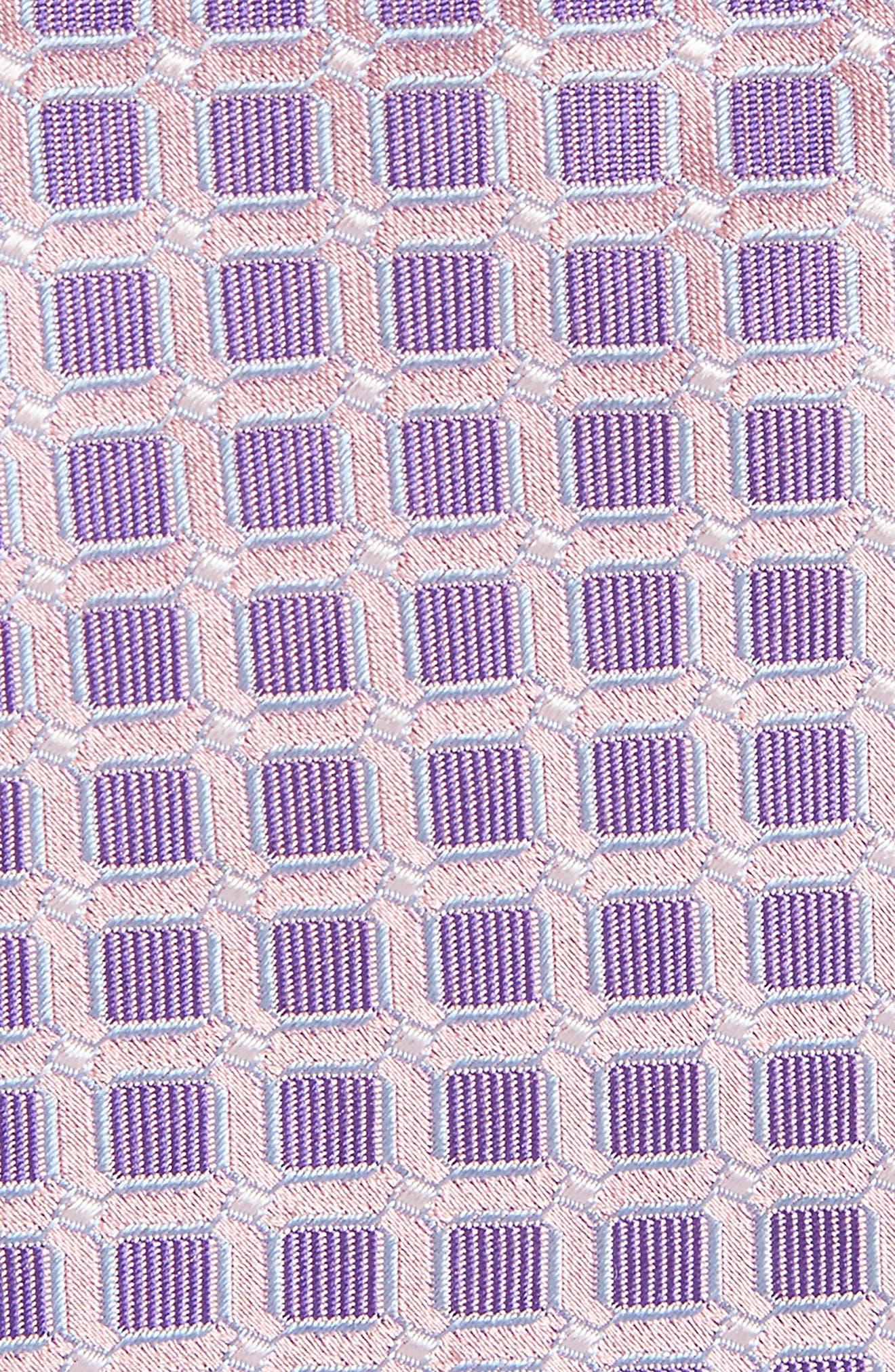 Geometric Silk Tie,                             Alternate thumbnail 2, color,                             Pink