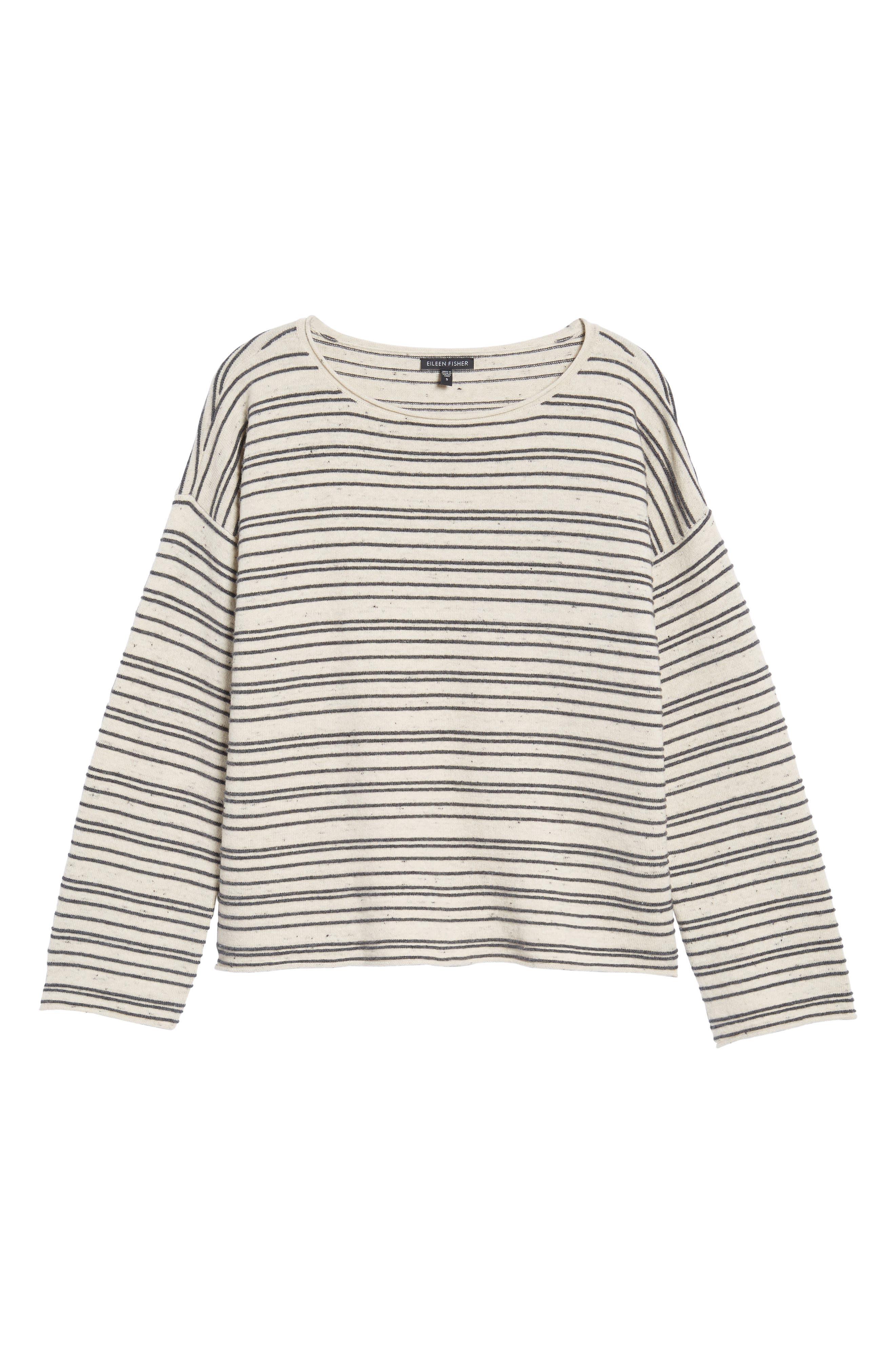 Stripe Organic Cotton Blend Sweater,                             Alternate thumbnail 6, color,                             Maple Oat