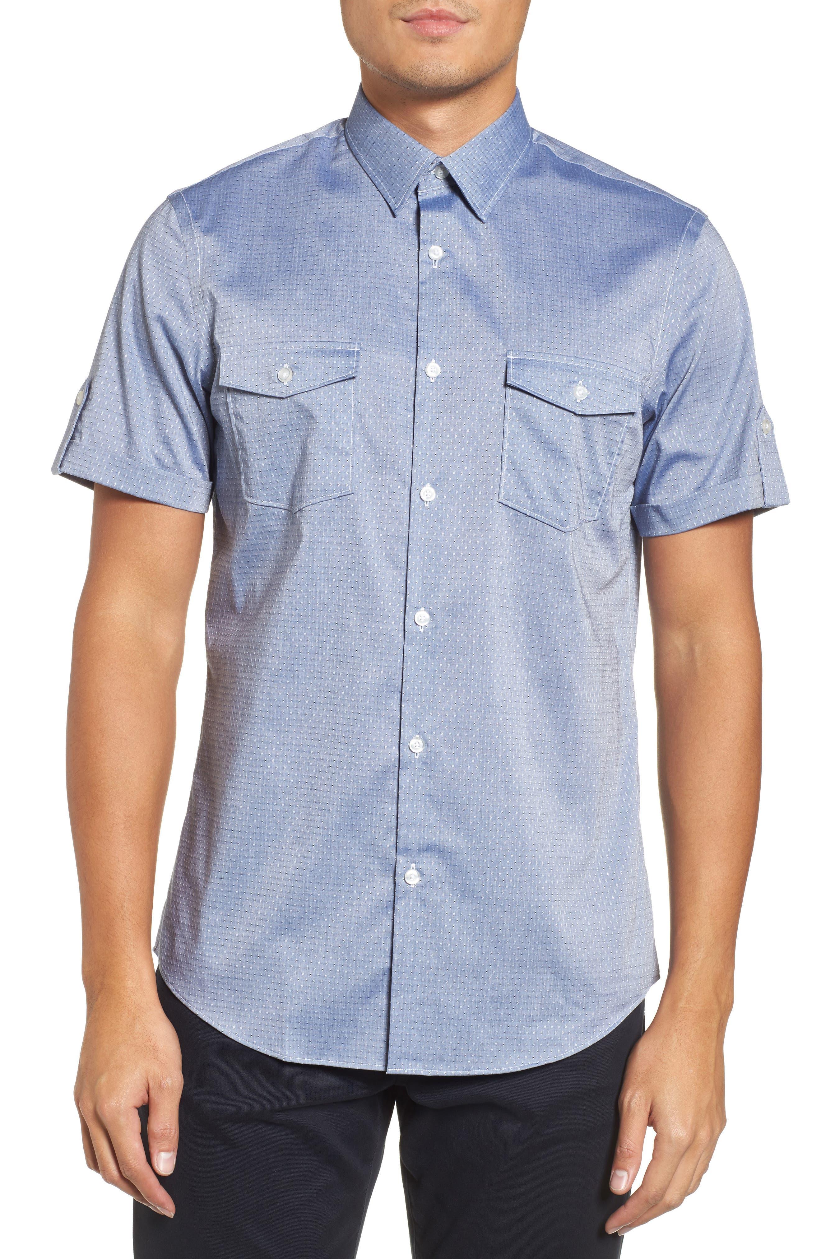 Dobby Military Shirt,                         Main,                         color, Blue Vintage Eoe Dobby