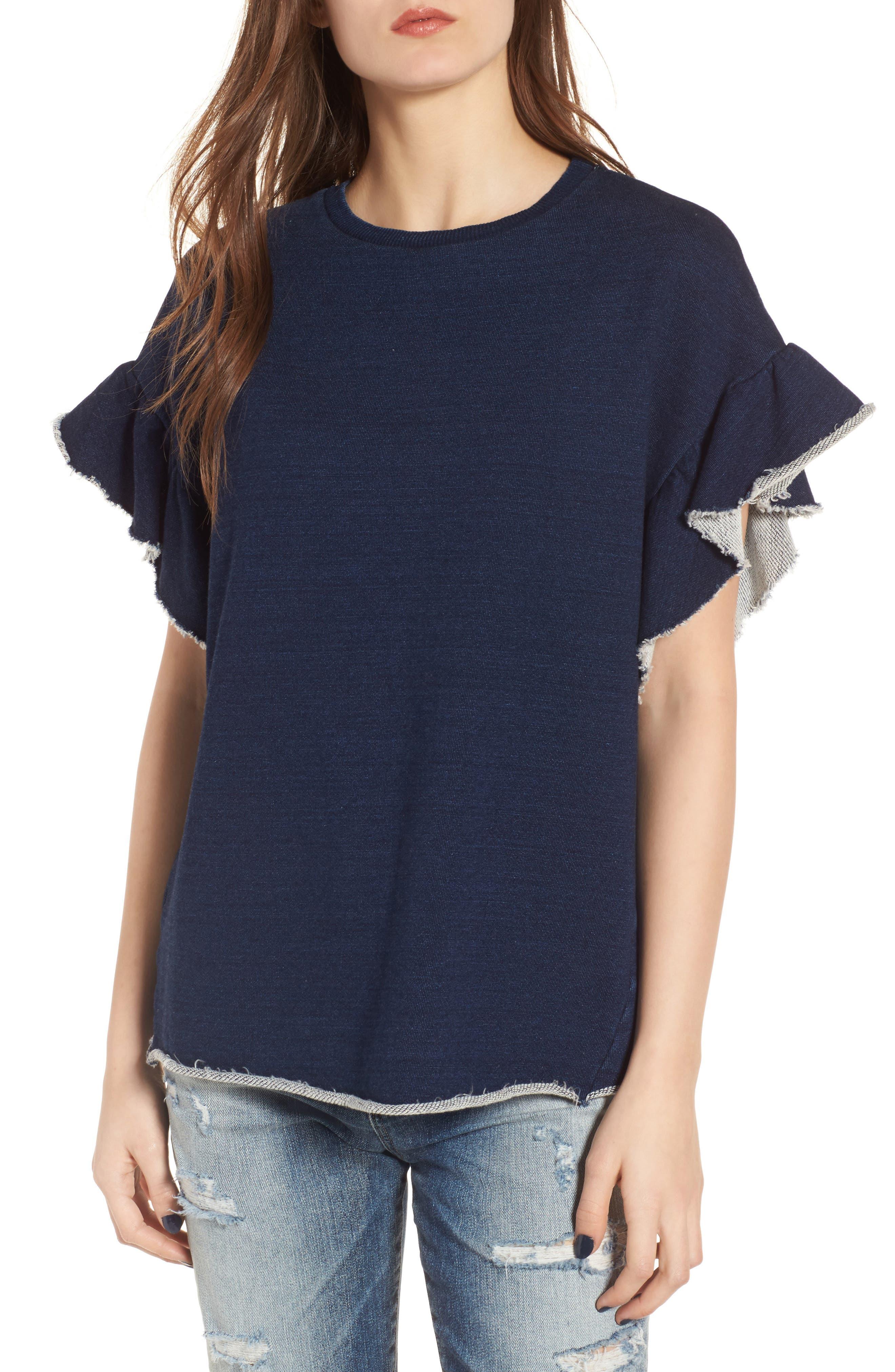 Bes Ruffle Sweatshirt,                         Main,                         color, Blue River