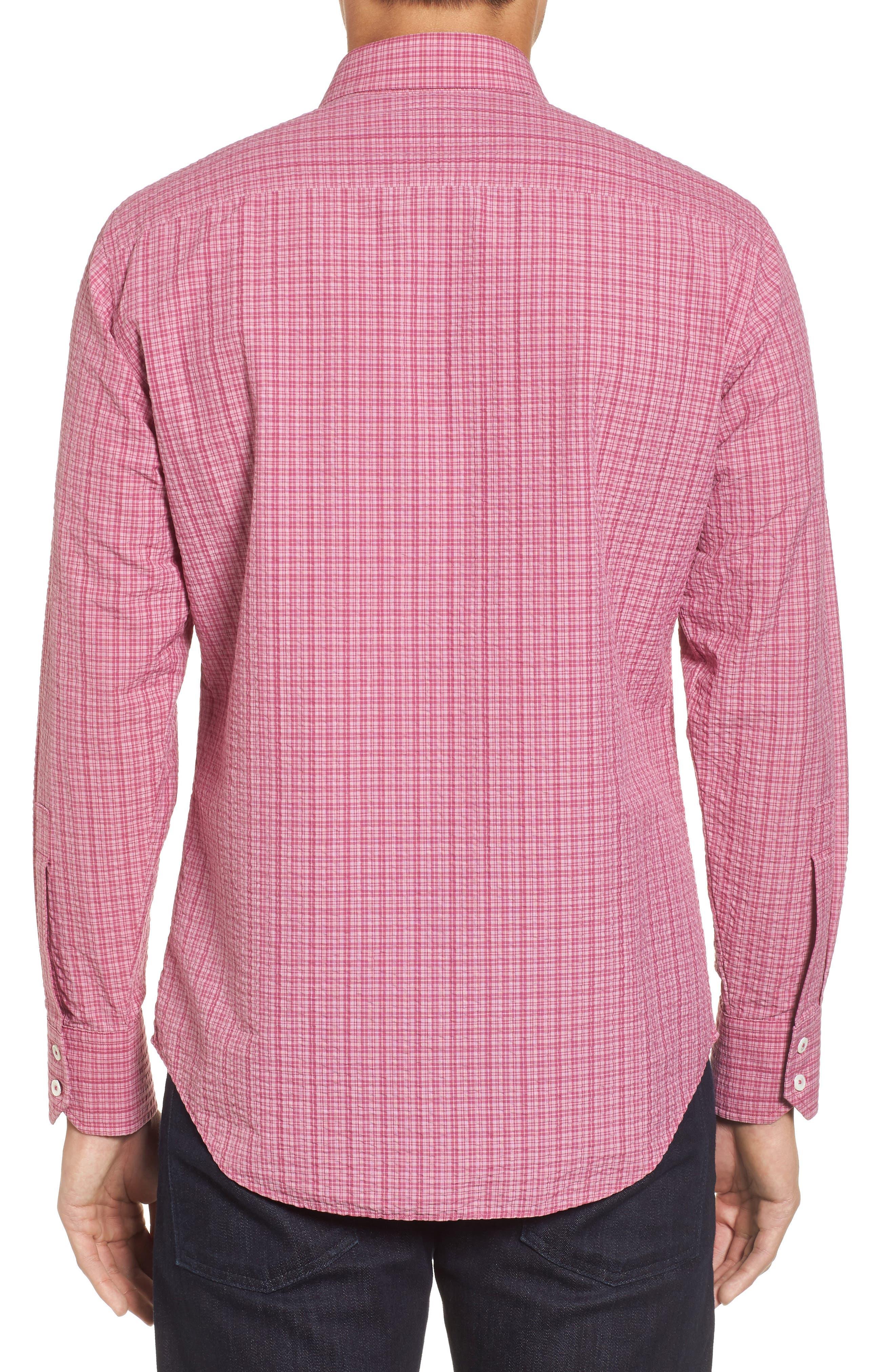 Italo Seersucker Woven Sport Shirt,                             Alternate thumbnail 2, color,                             Dark Pink
