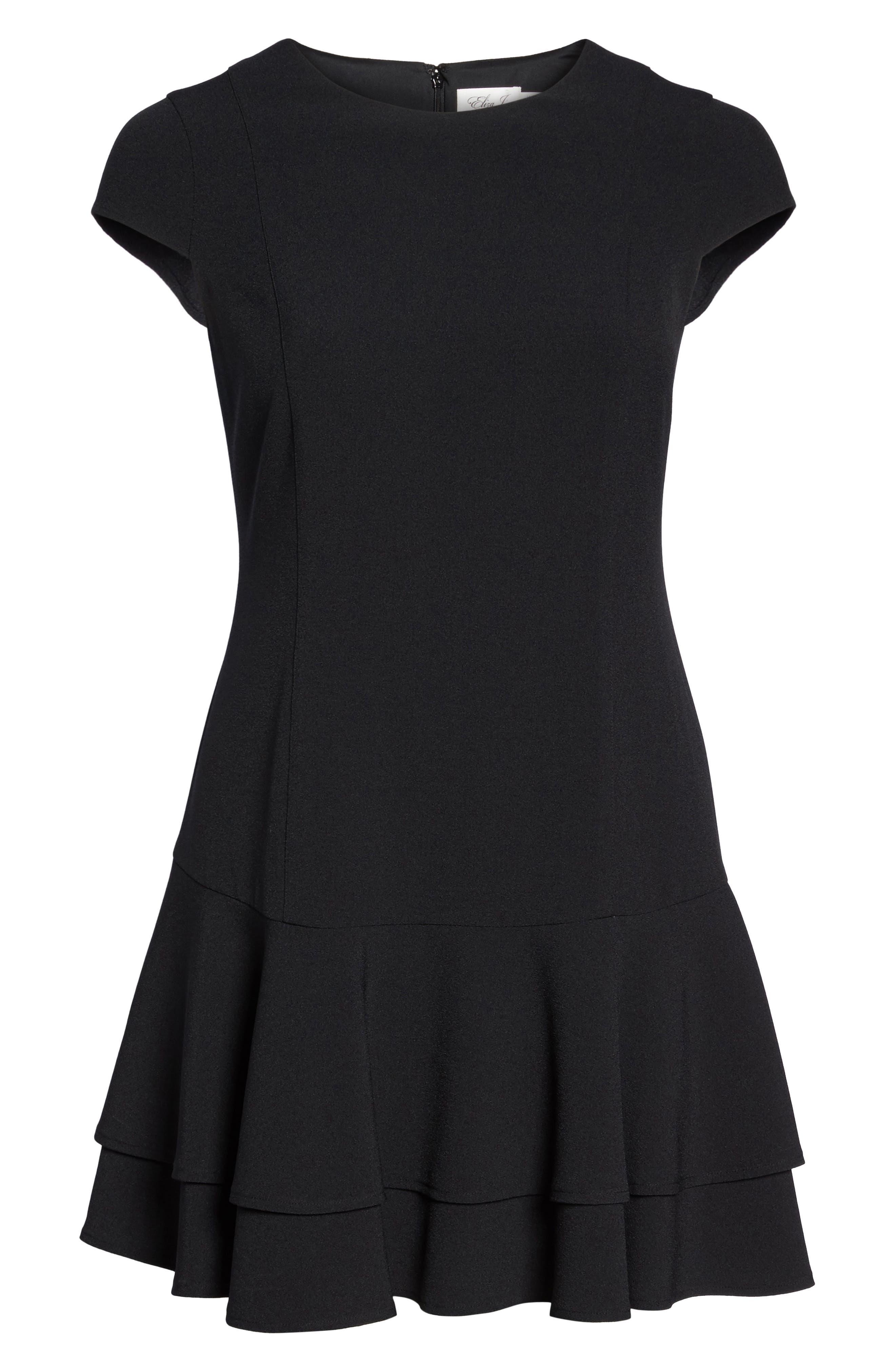 Crepe Drop Waist Dress,                             Alternate thumbnail 6, color,                             Black