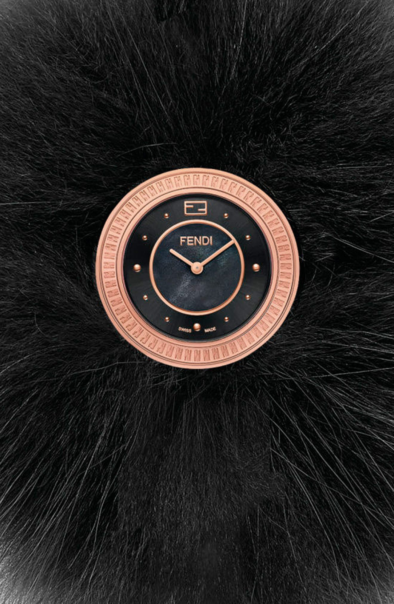 Alternate Image 2  - Fendi My Way Genuine Fox Fur Leather Strap Watch, 28mm