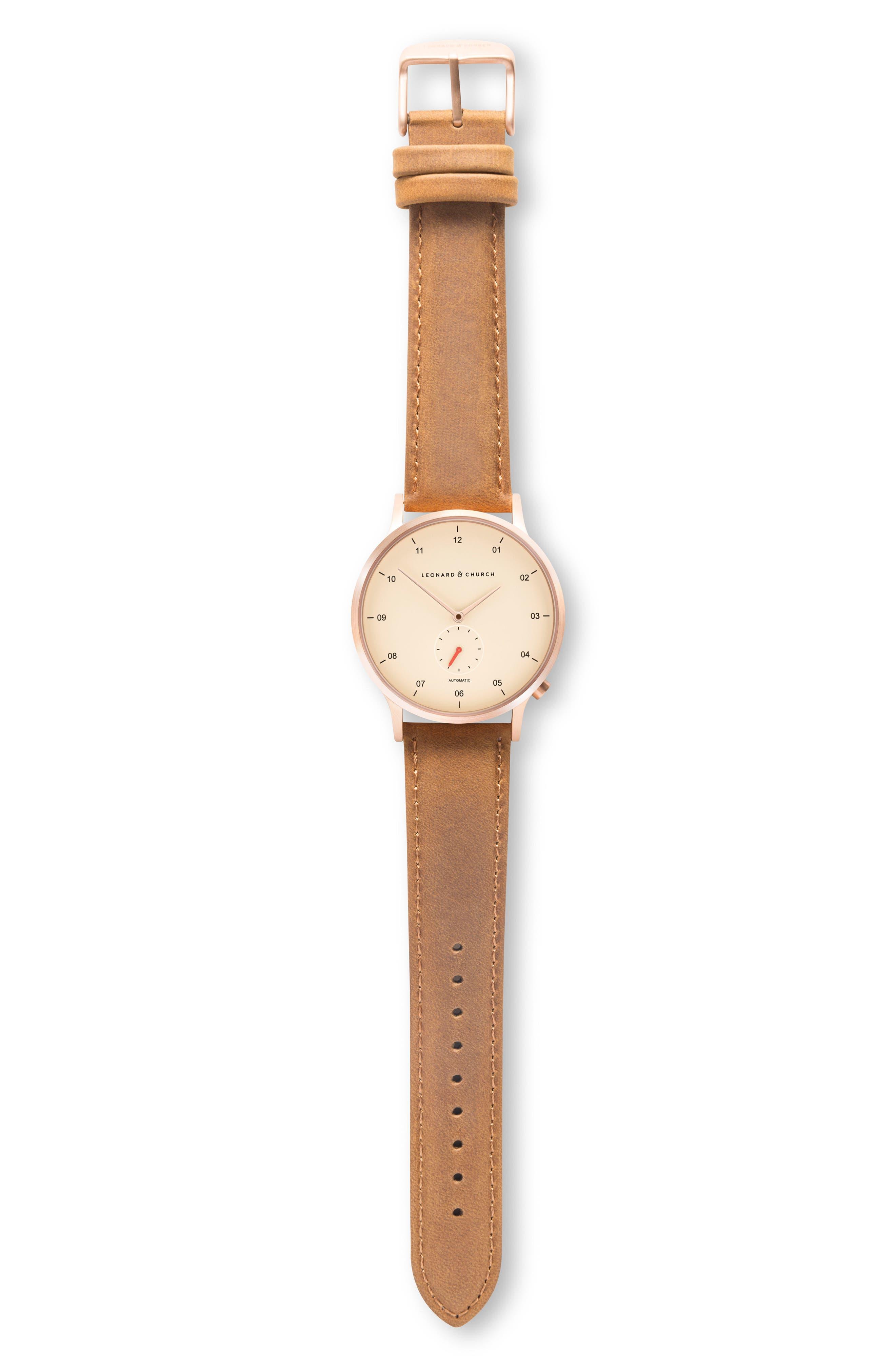 Leonard & Church Sullivan Automatic Suede Strap Watch, 39mm,                             Alternate thumbnail 4, color,                             Tan/ Rose Gold