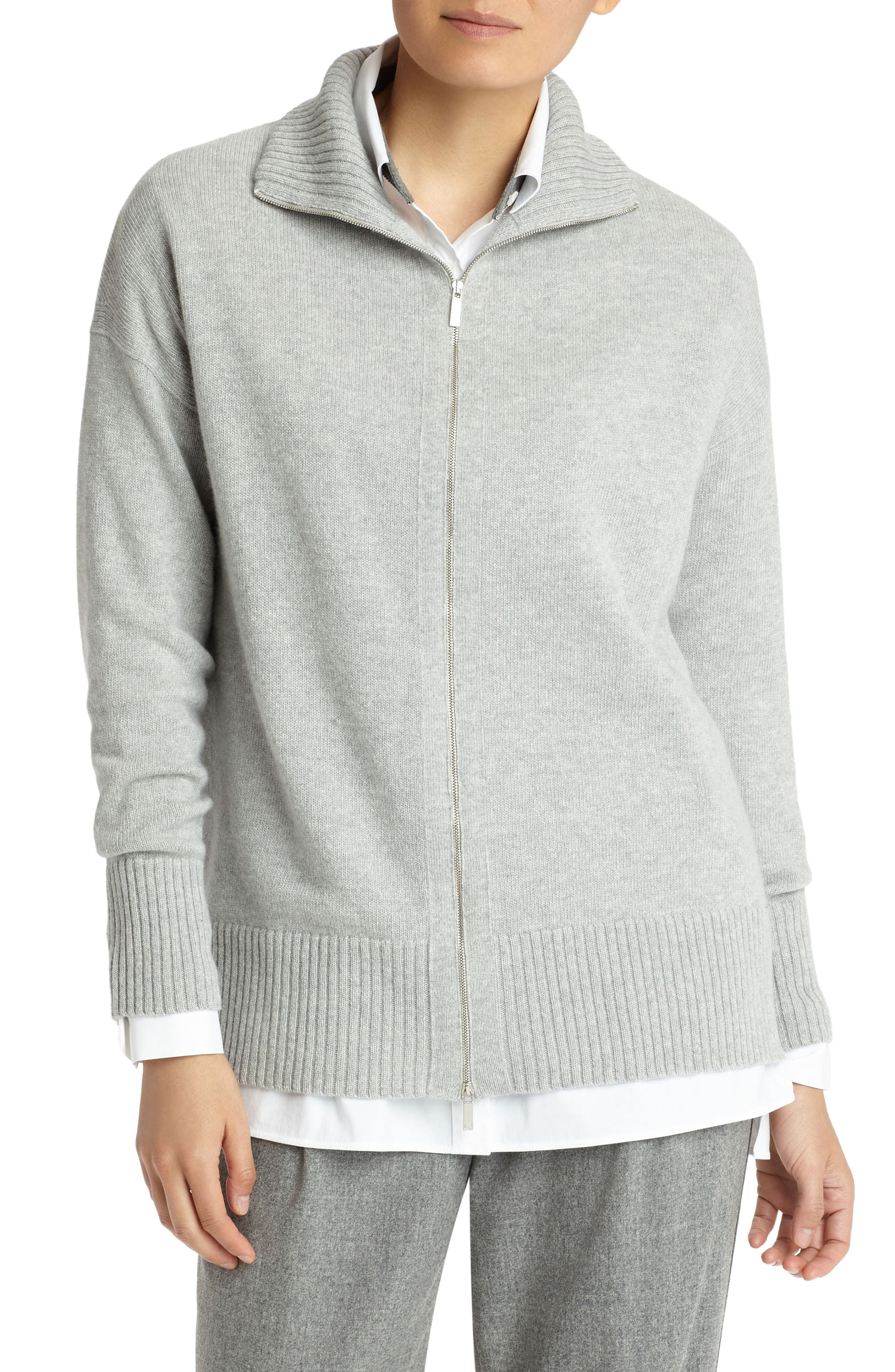 Main Image - Lafayette 148 New York Luxe Merino Wool & Cashmere Sweater Jacket