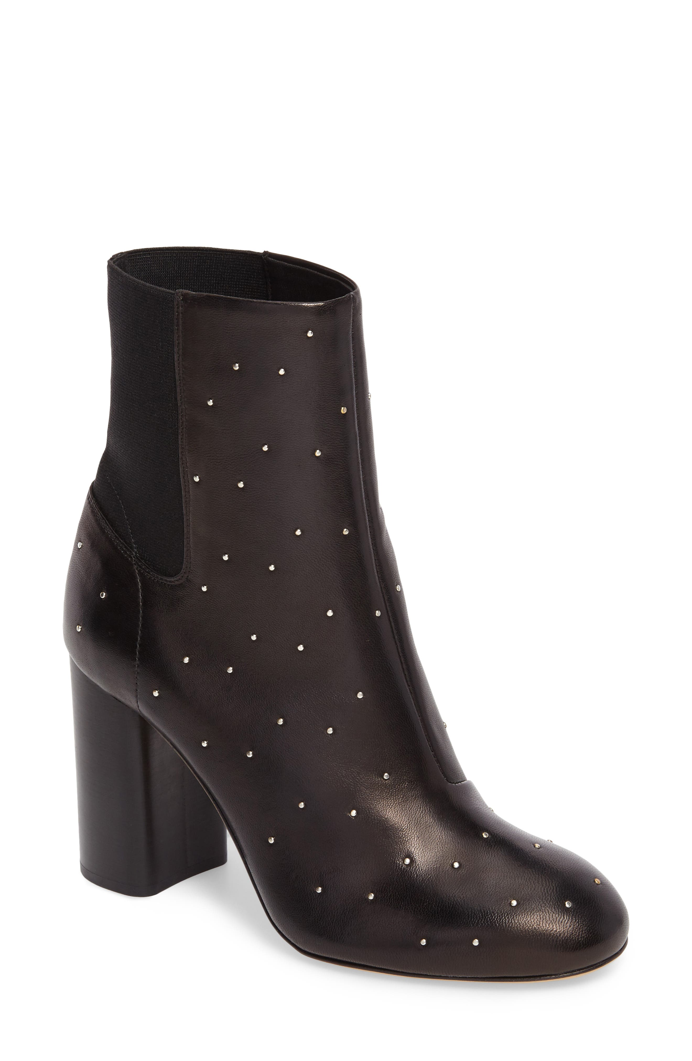 Agnes Bootie,                             Main thumbnail 1, color,                             Black Studded Leather