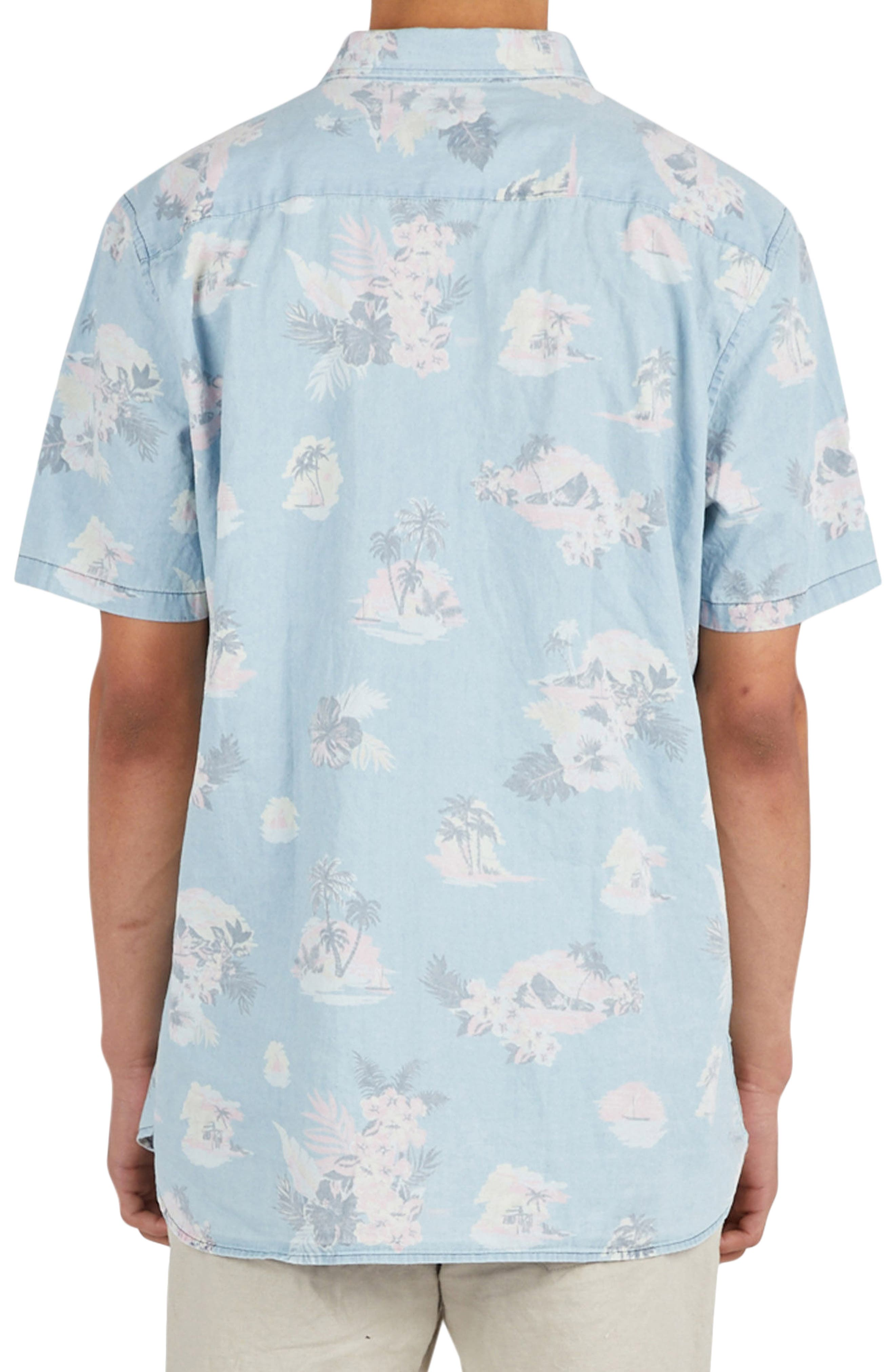 Tropical Print Woven Shirt,                             Alternate thumbnail 2, color,                             Indigo/ Floral