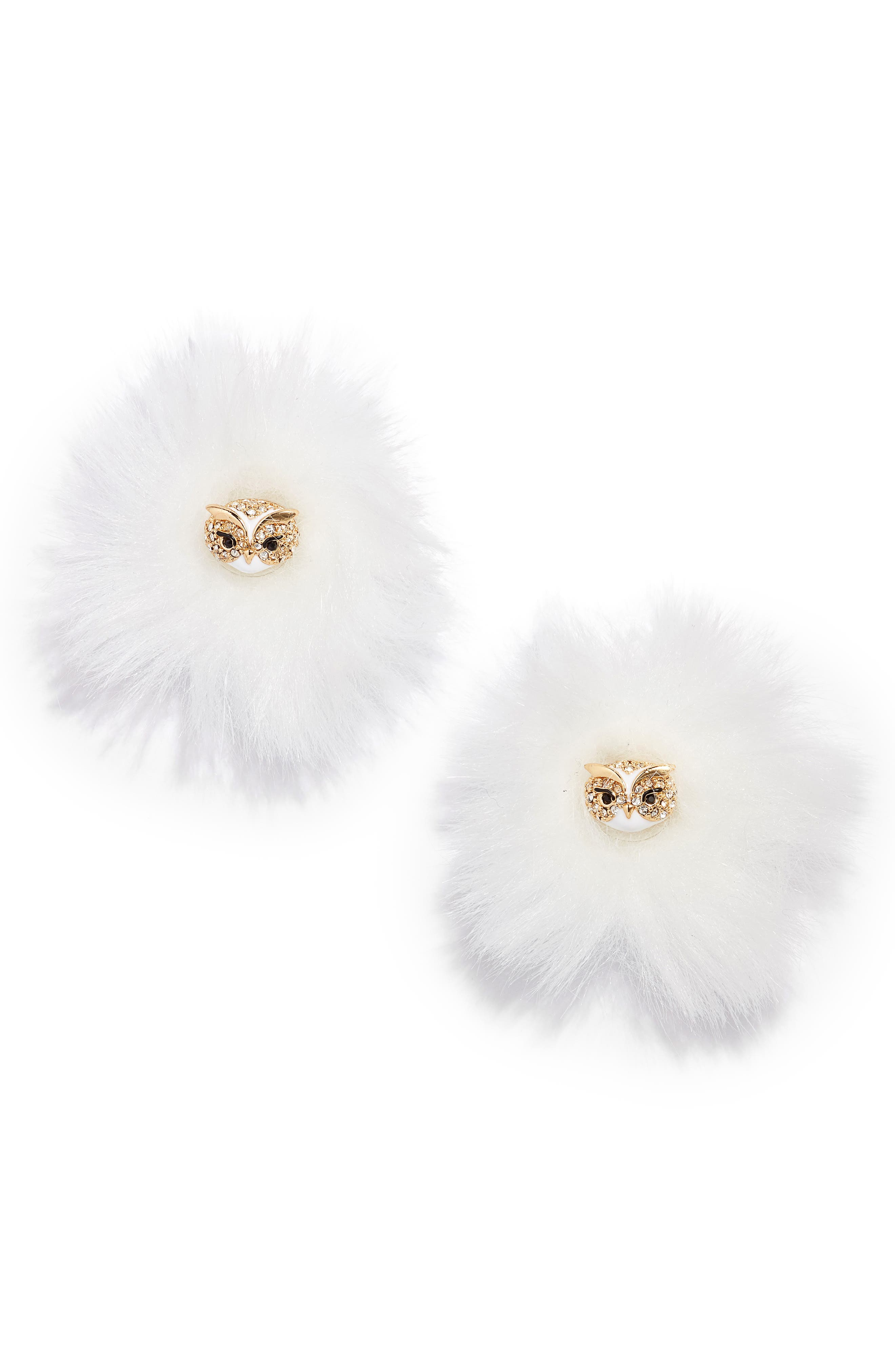 star bright owl reversible stud earrings,                         Main,                         color, White Multi