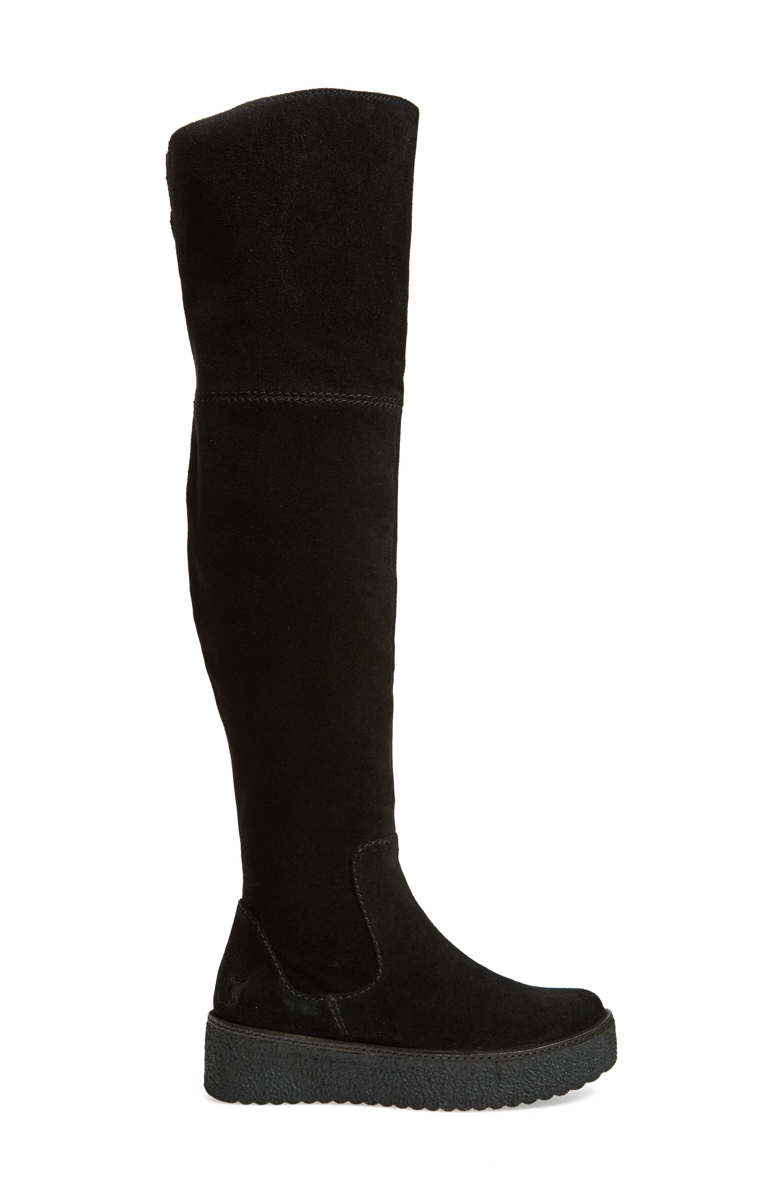 Tazza Over the Knee Boot,                             Alternate thumbnail 3, color,                             Black Suede