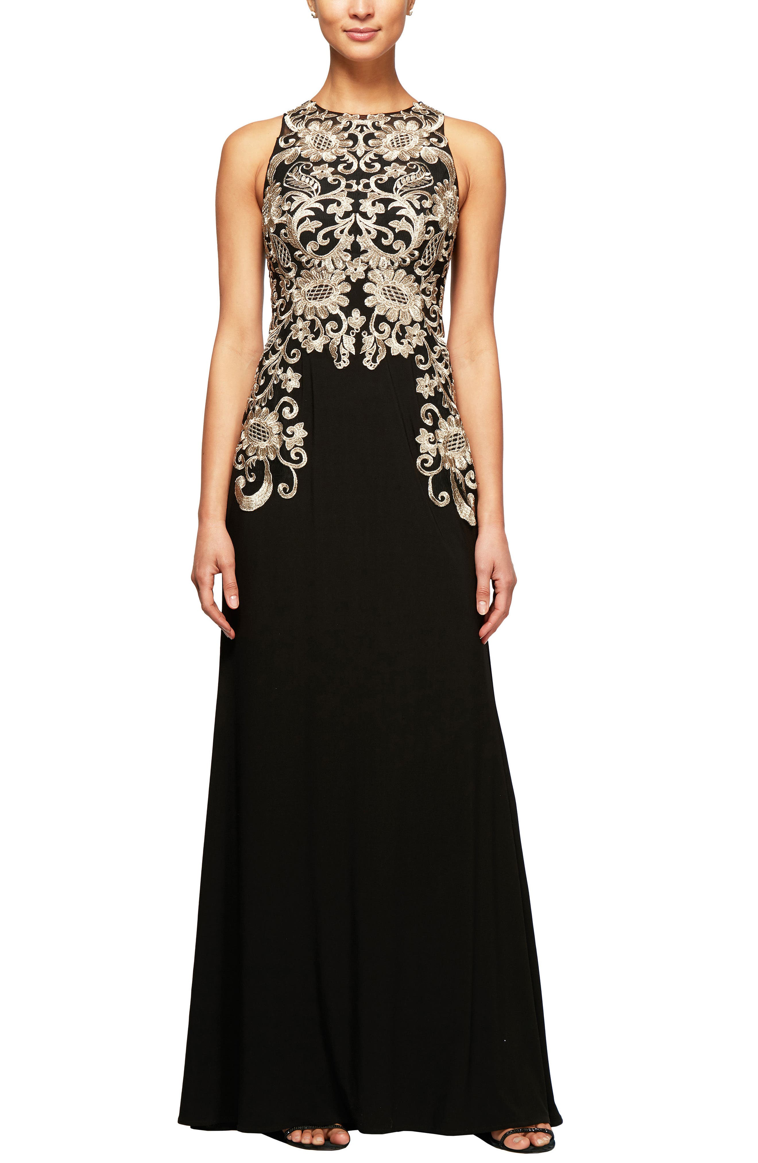 Embroidered Sleeveless Gown,                             Main thumbnail 1, color,                             Black Gold