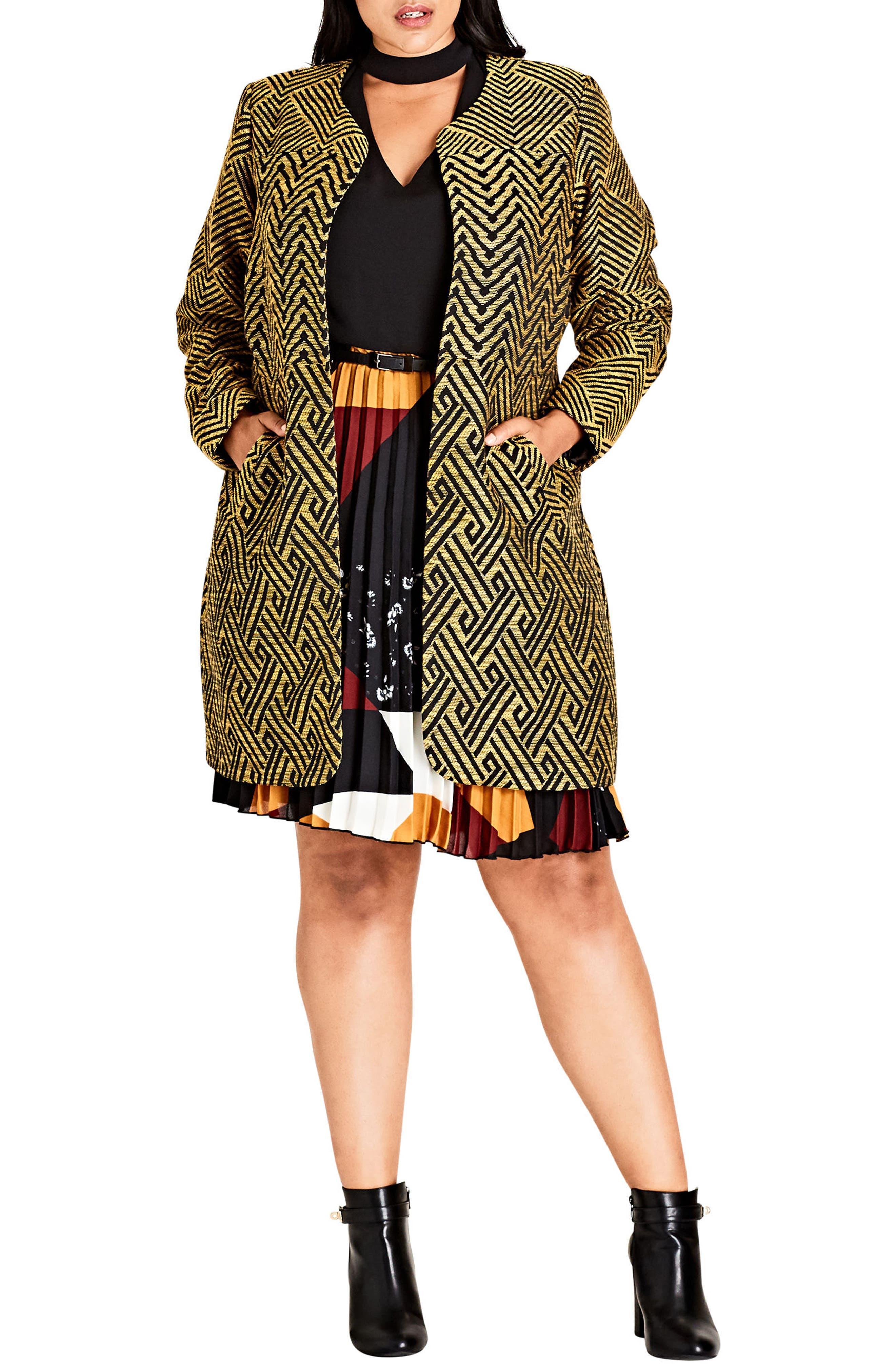 Main Image - City Chic Long Carpool Jacket (Plus Size)