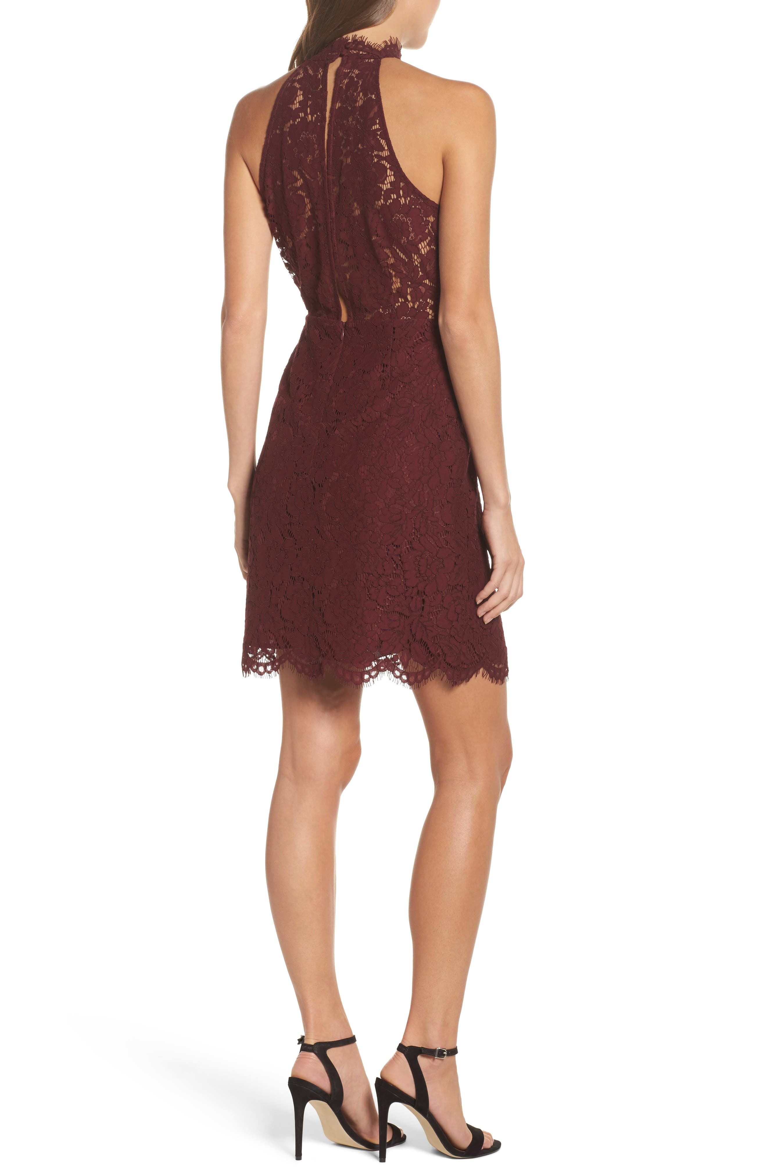 Alternate Image 2  - BB Dakota 'Cara' High Neck Lace Dress