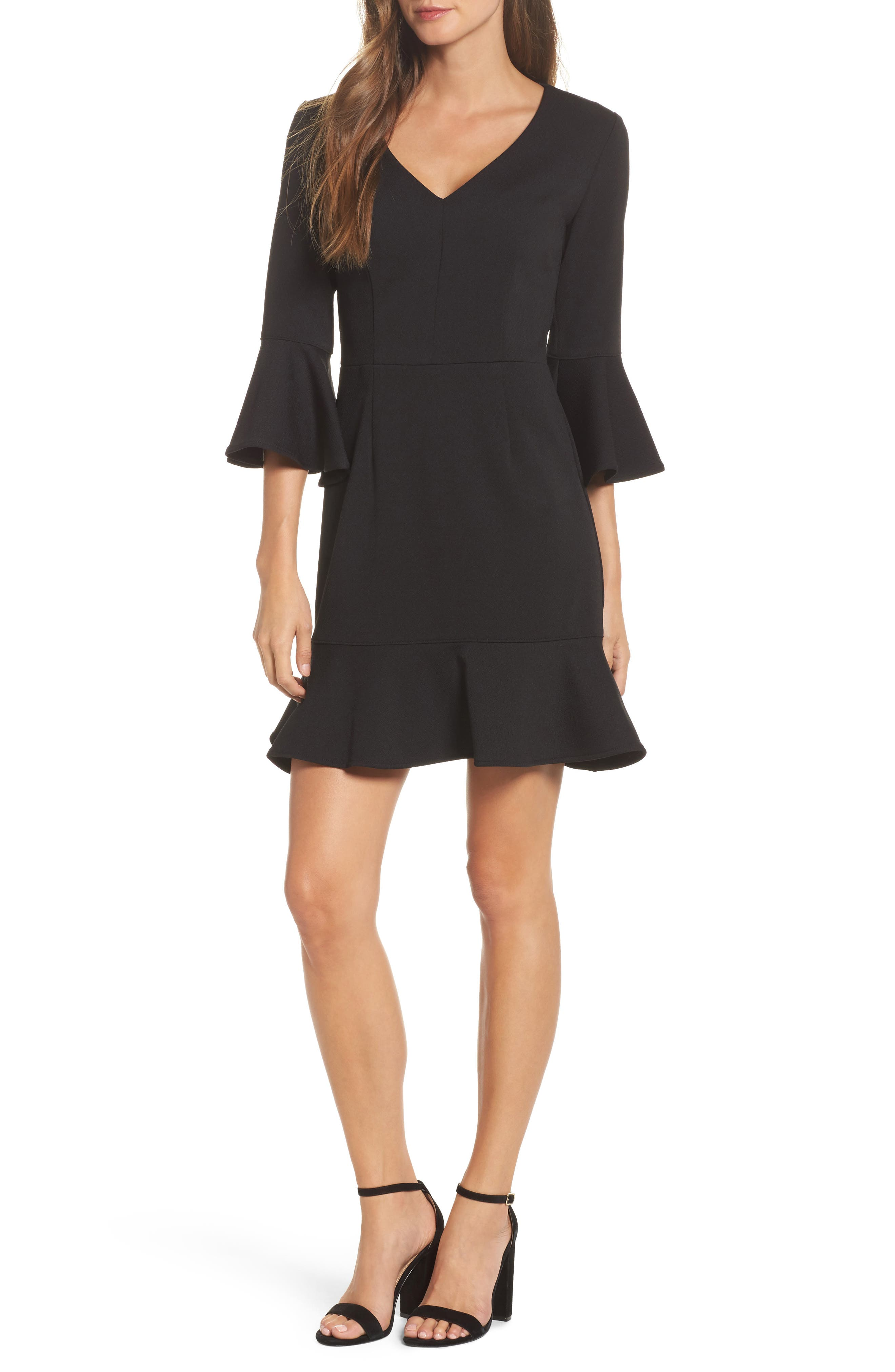 Clearwater Ruffle Sheath Dress,                         Main,                         color, Black