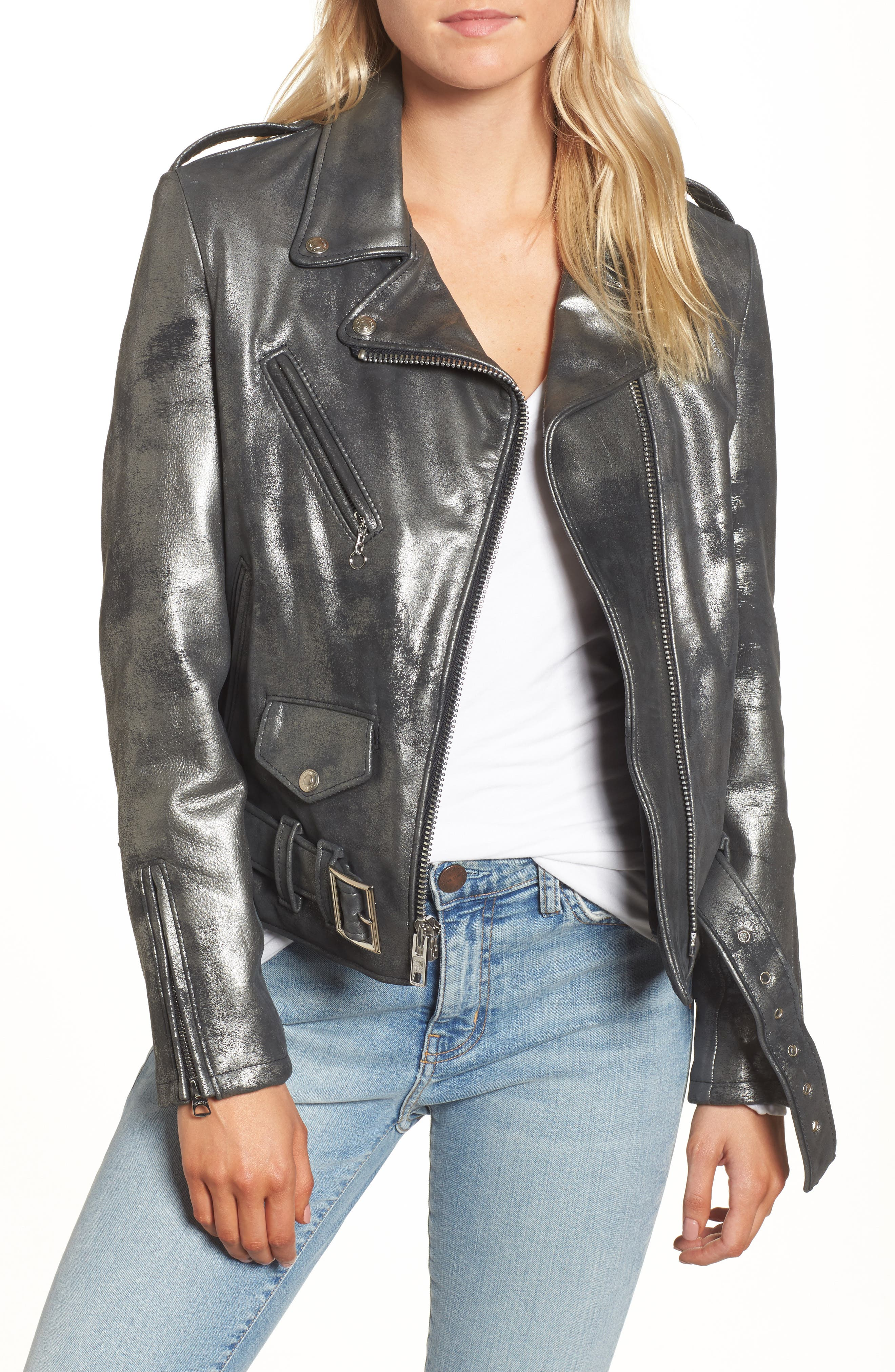 Perfecto Distressed Leather Boyfriend Jacket,                             Main thumbnail 1, color,                             Graphite