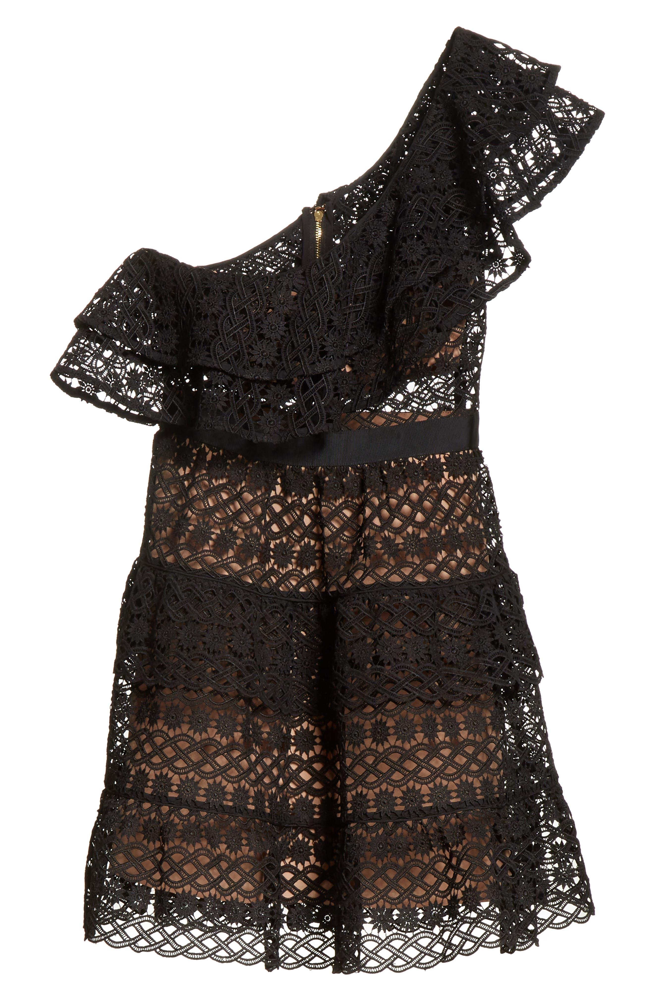 Floral Chain Lace One-Shoulder Dress,                             Alternate thumbnail 6, color,                             Black