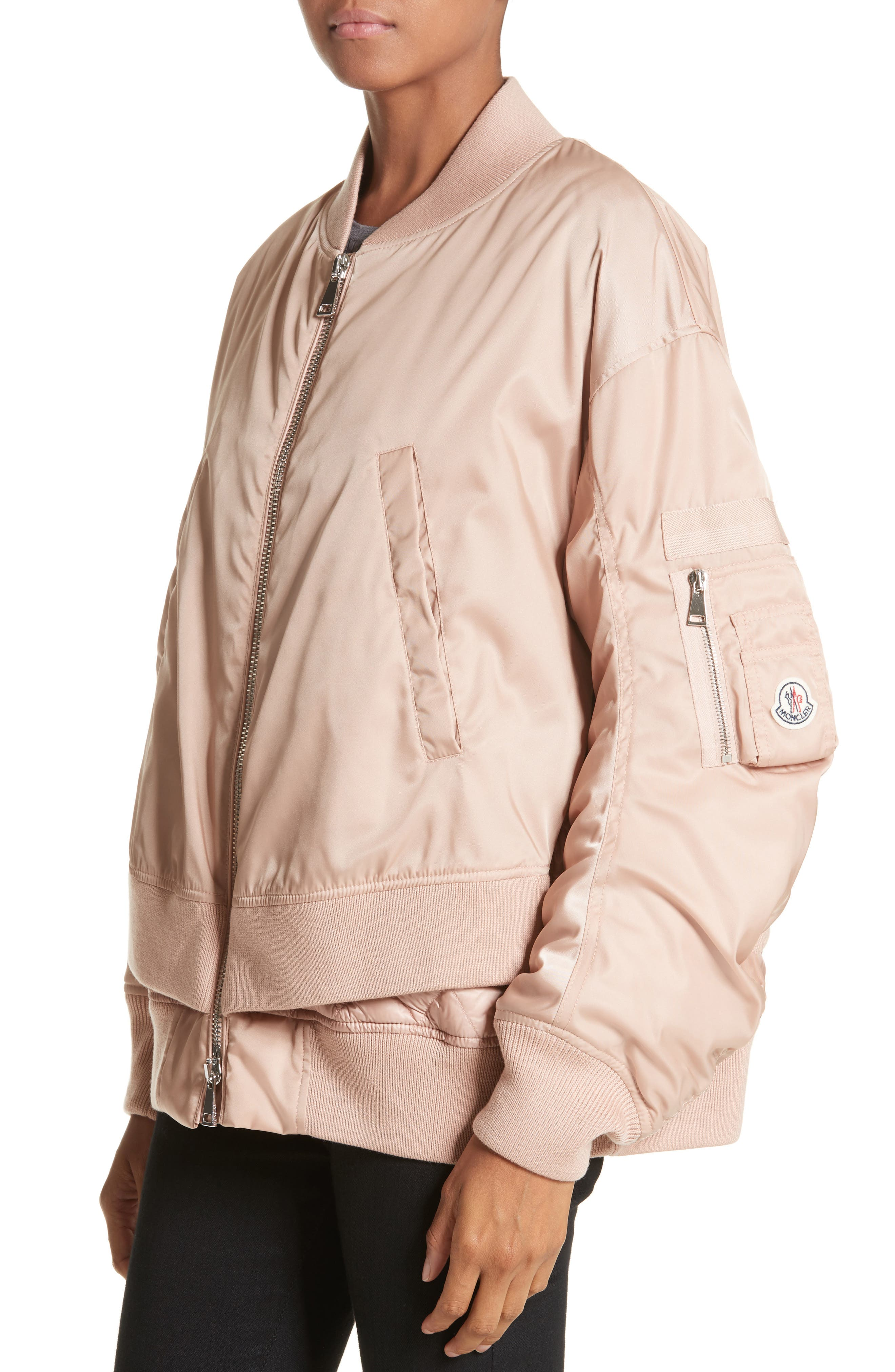 Aralia Layered Bomber Jacket,                             Alternate thumbnail 4, color,                             Pink