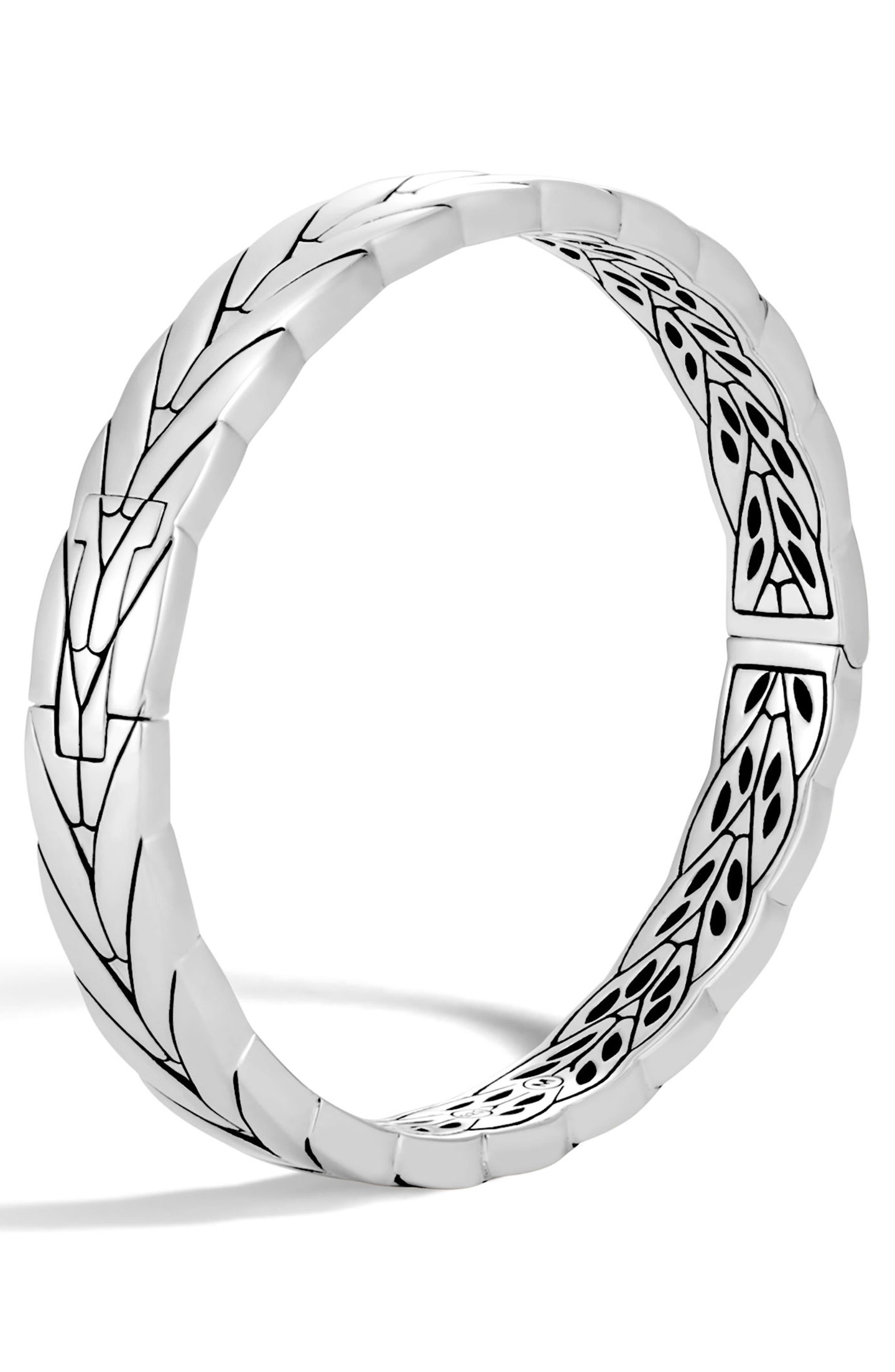 Modern Chain Hinge Bangle,                             Main thumbnail 1, color,                             Silver