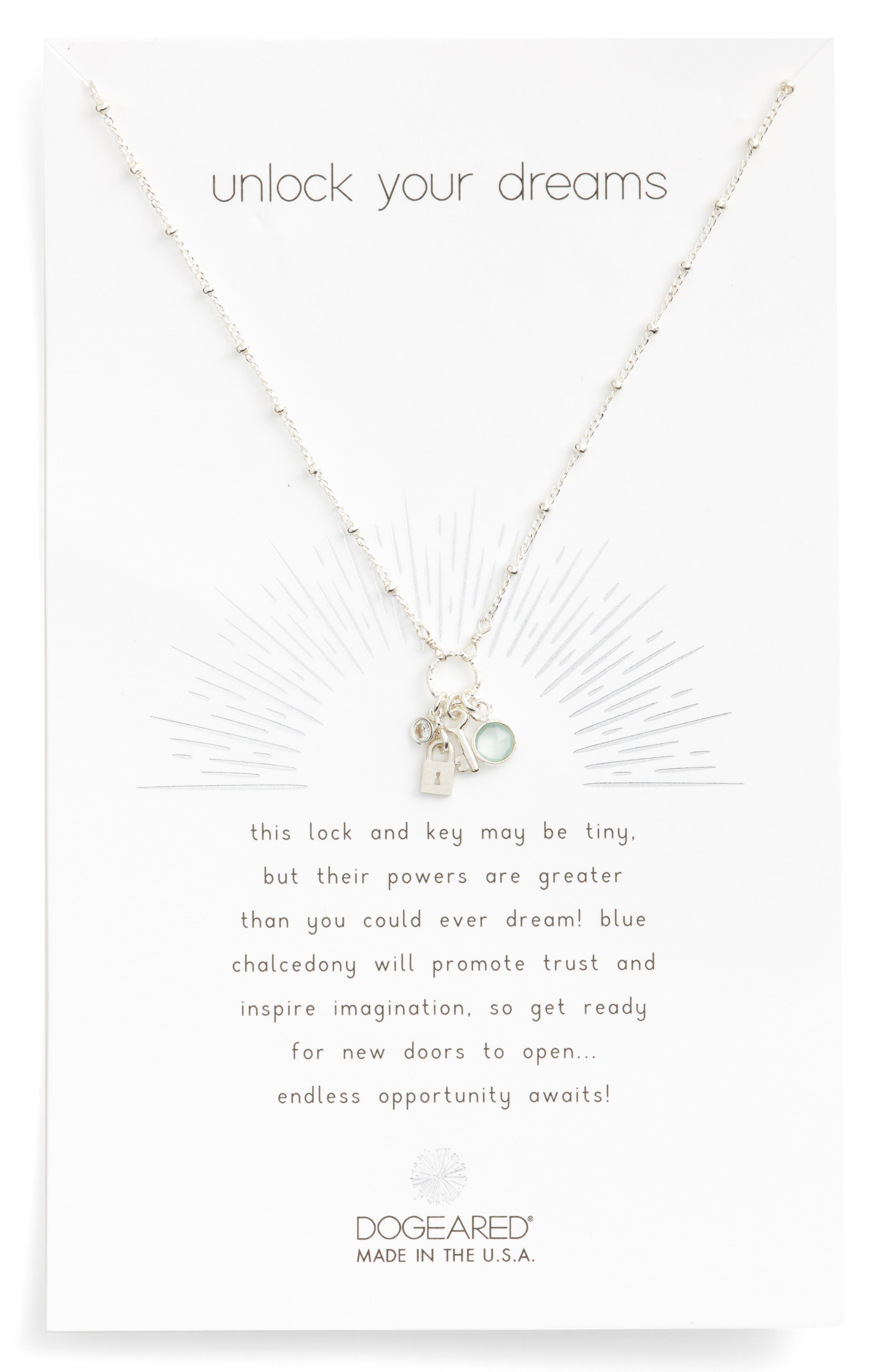 Unlock Your Dreams Lock & Key Charm Pendant Necklace,                         Main,                         color, Silver
