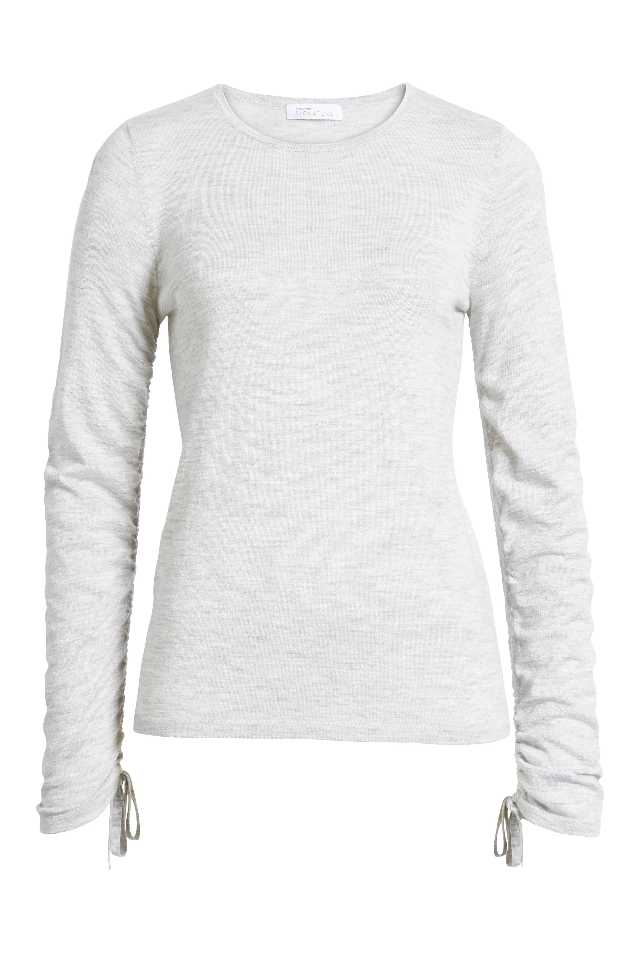 Cashmere Ruched Sleeve Pullover,                             Alternate thumbnail 6, color,                             Grey Clay Heather