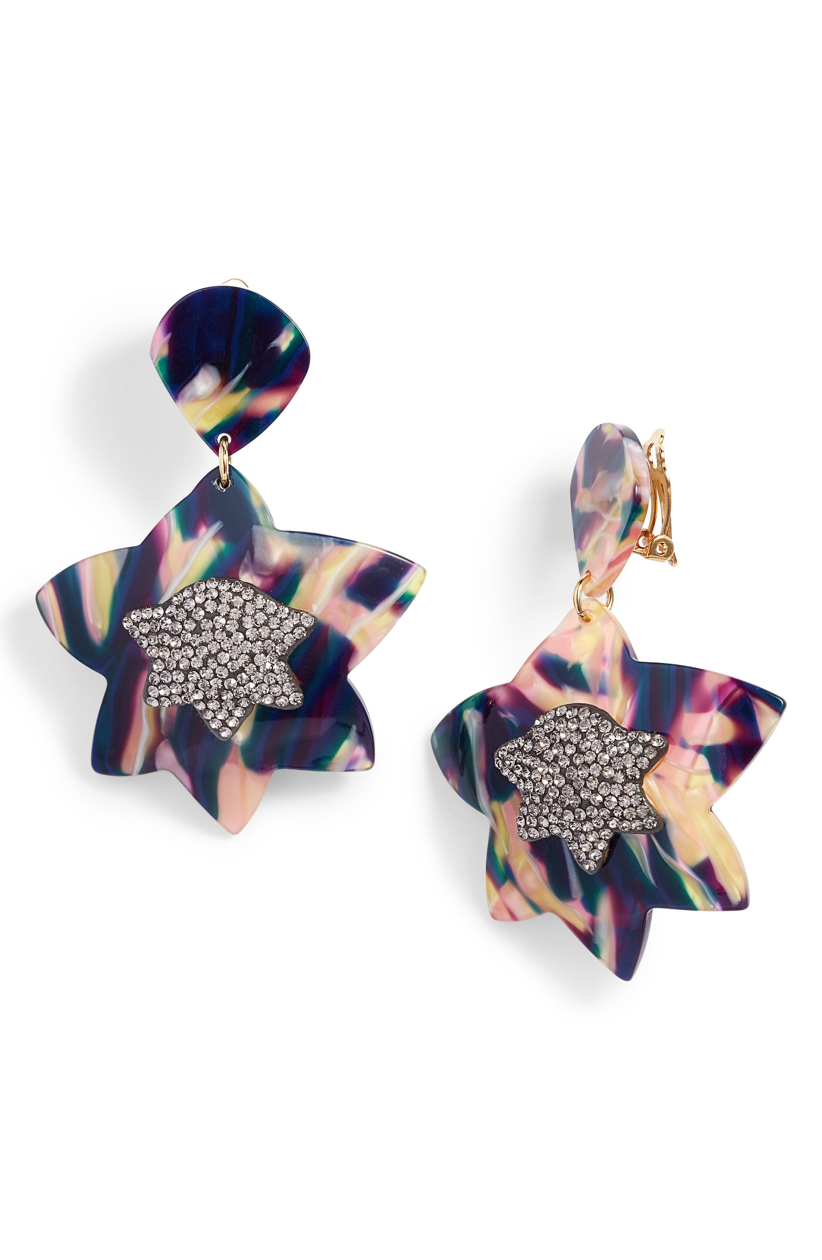 Crystal Star Drop Earrings,                         Main,                         color, Twilight
