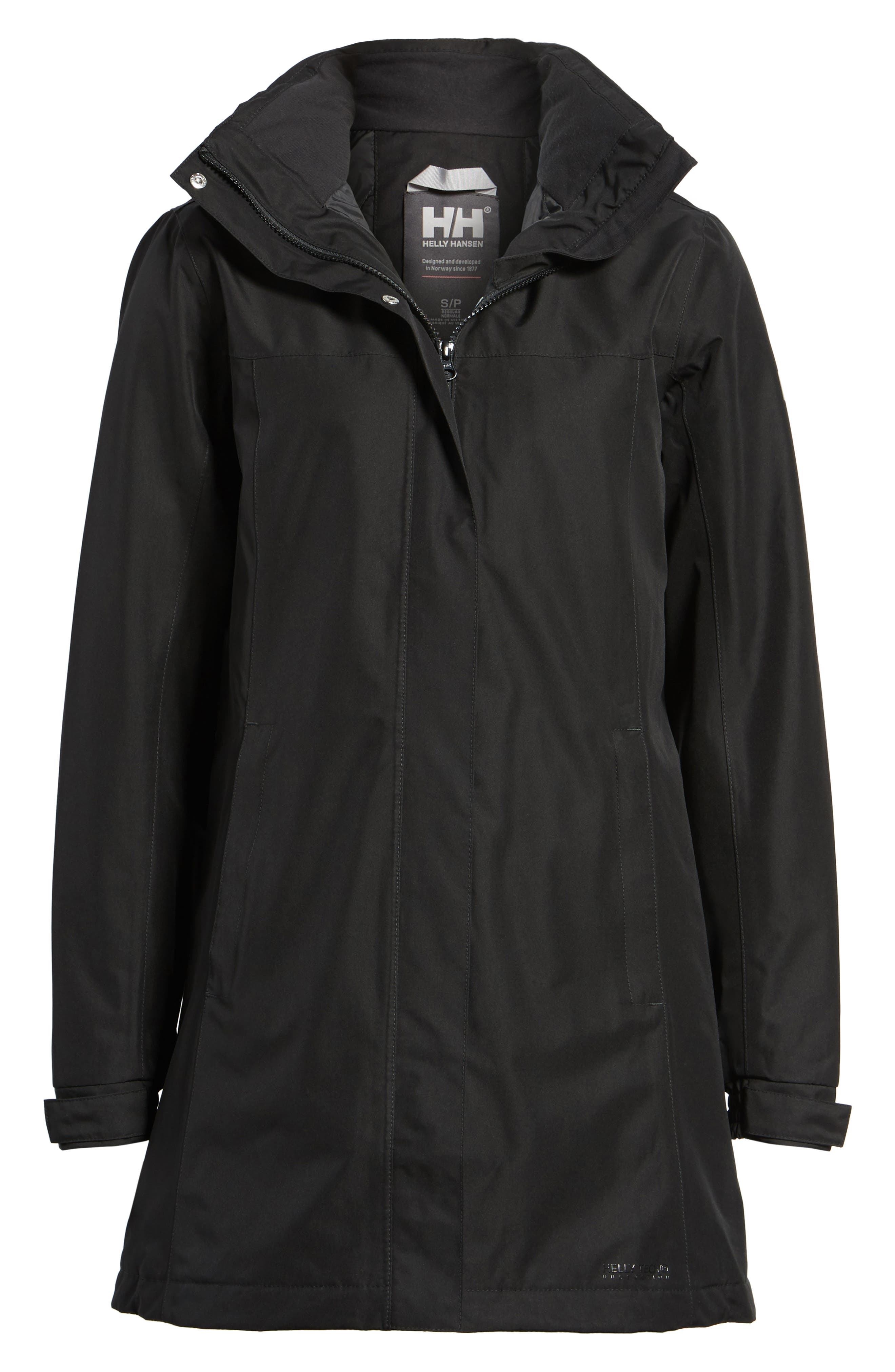 Aden Hooded Insulated Rain Jacket,                             Alternate thumbnail 7, color,                             Black