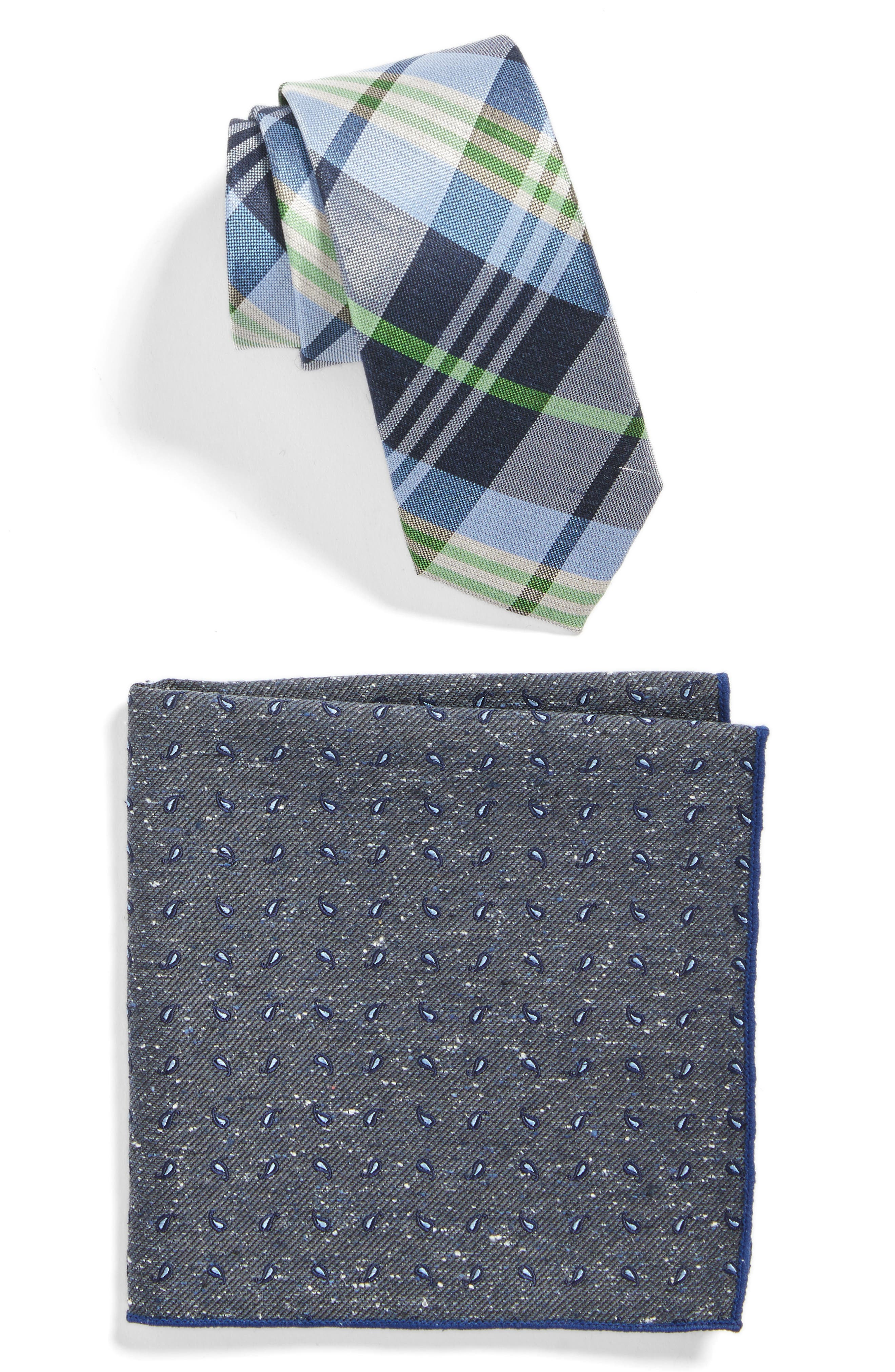 The Tie Bar Crystal Wave Plaid Tie and Pocket Square Set
